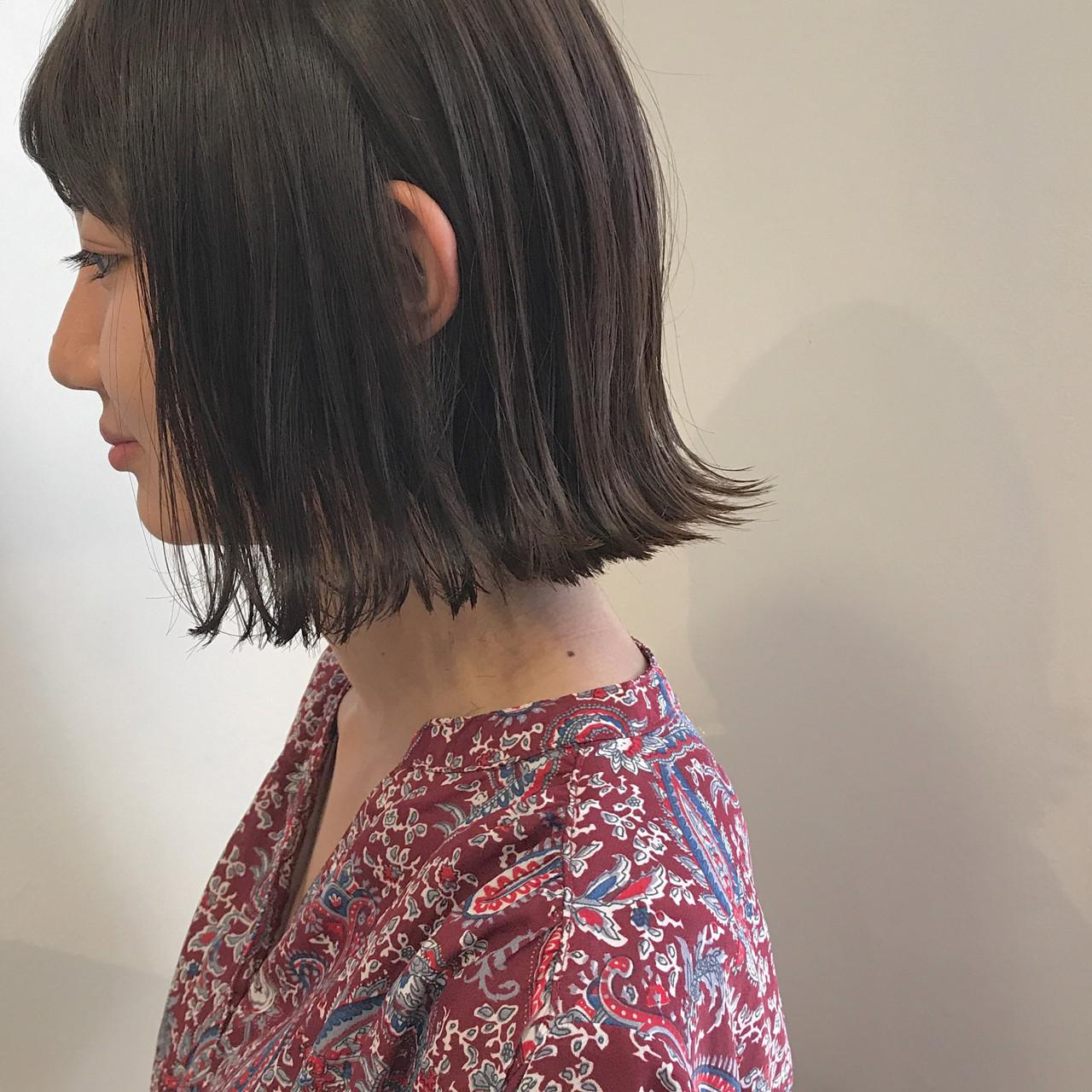 黒髪 ハイライト 外ハネ 秋ヘアスタイルや髪型の写真・画像