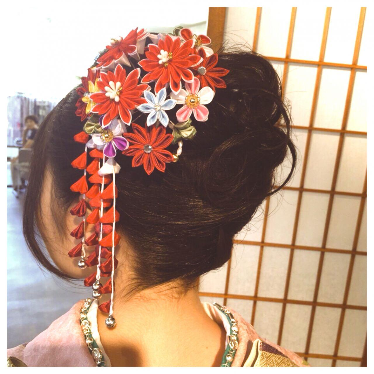 ナチュラル 黒髪 ガーリー ヘアアレンジヘアスタイルや髪型の写真・画像