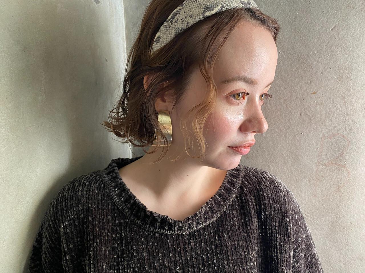 ショートボブ ナチュラル ヘアアレンジ ボブヘアスタイルや髪型の写真・画像
