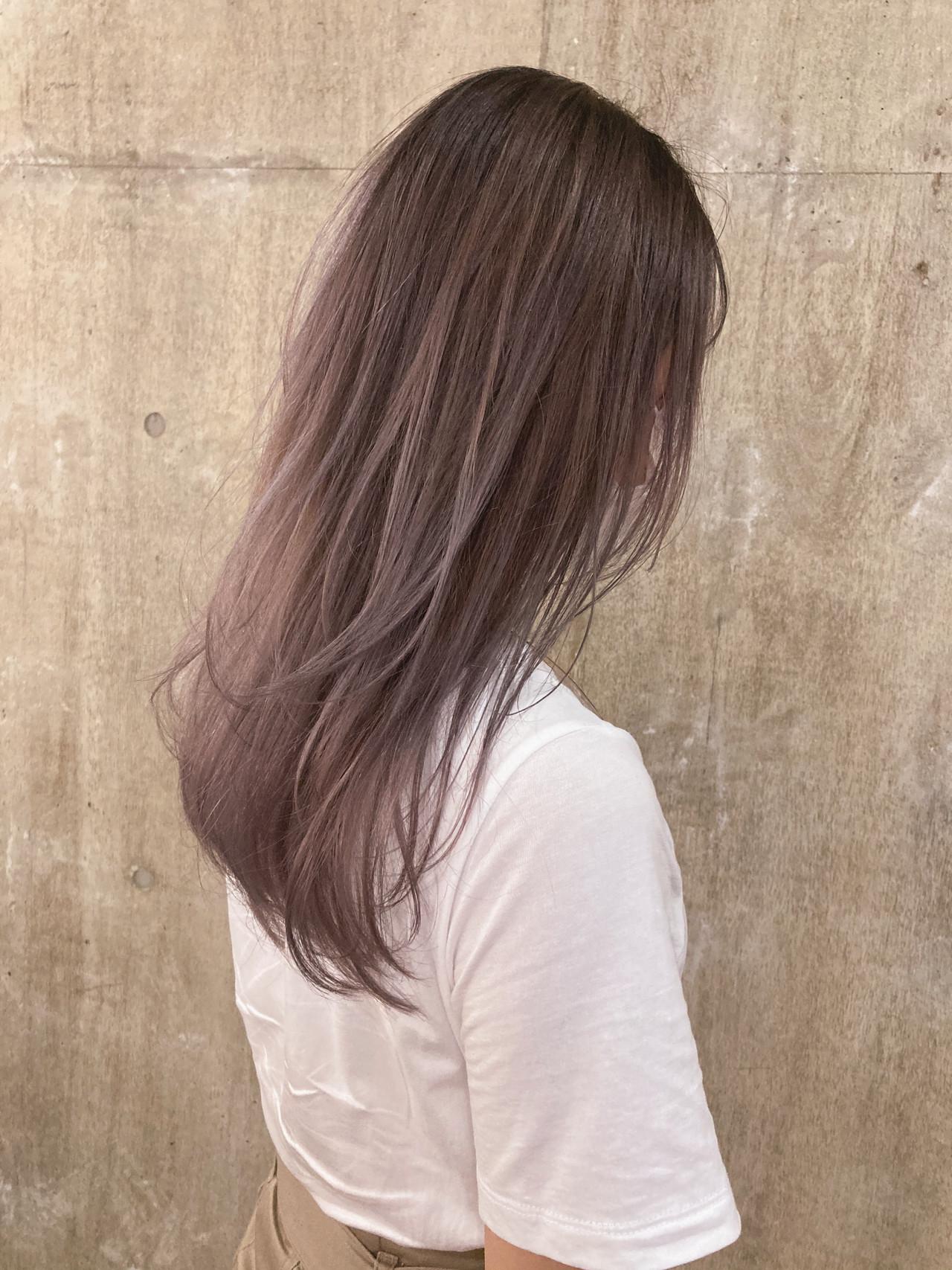 ハイトーンカラー ペールピンク レイヤースタイル ダブルカラー ヘアスタイルや髪型の写真・画像