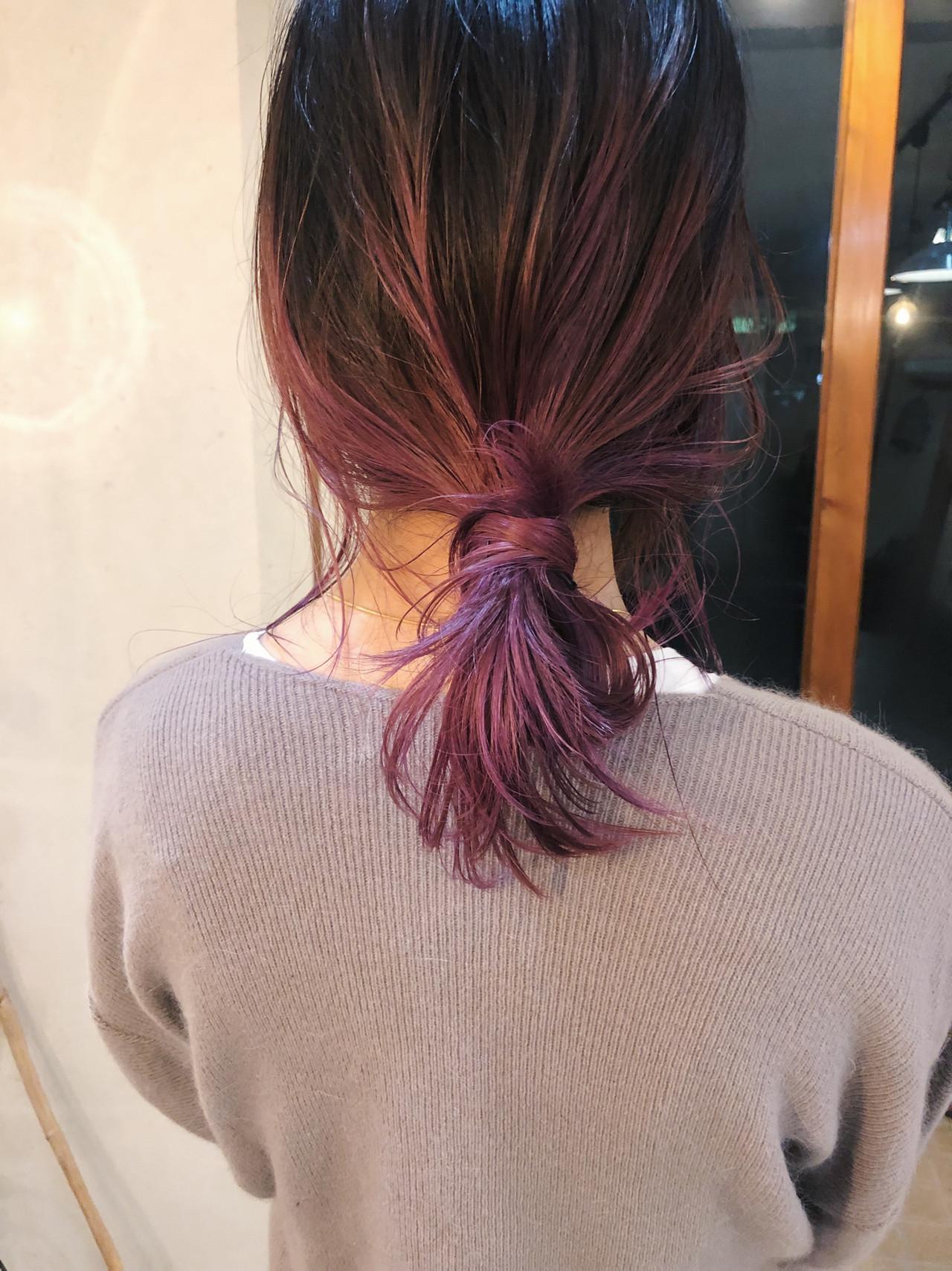 ストリート 簡単ヘアアレンジ アンニュイほつれヘア ラベンダーカラー ヘアスタイルや髪型の写真・画像