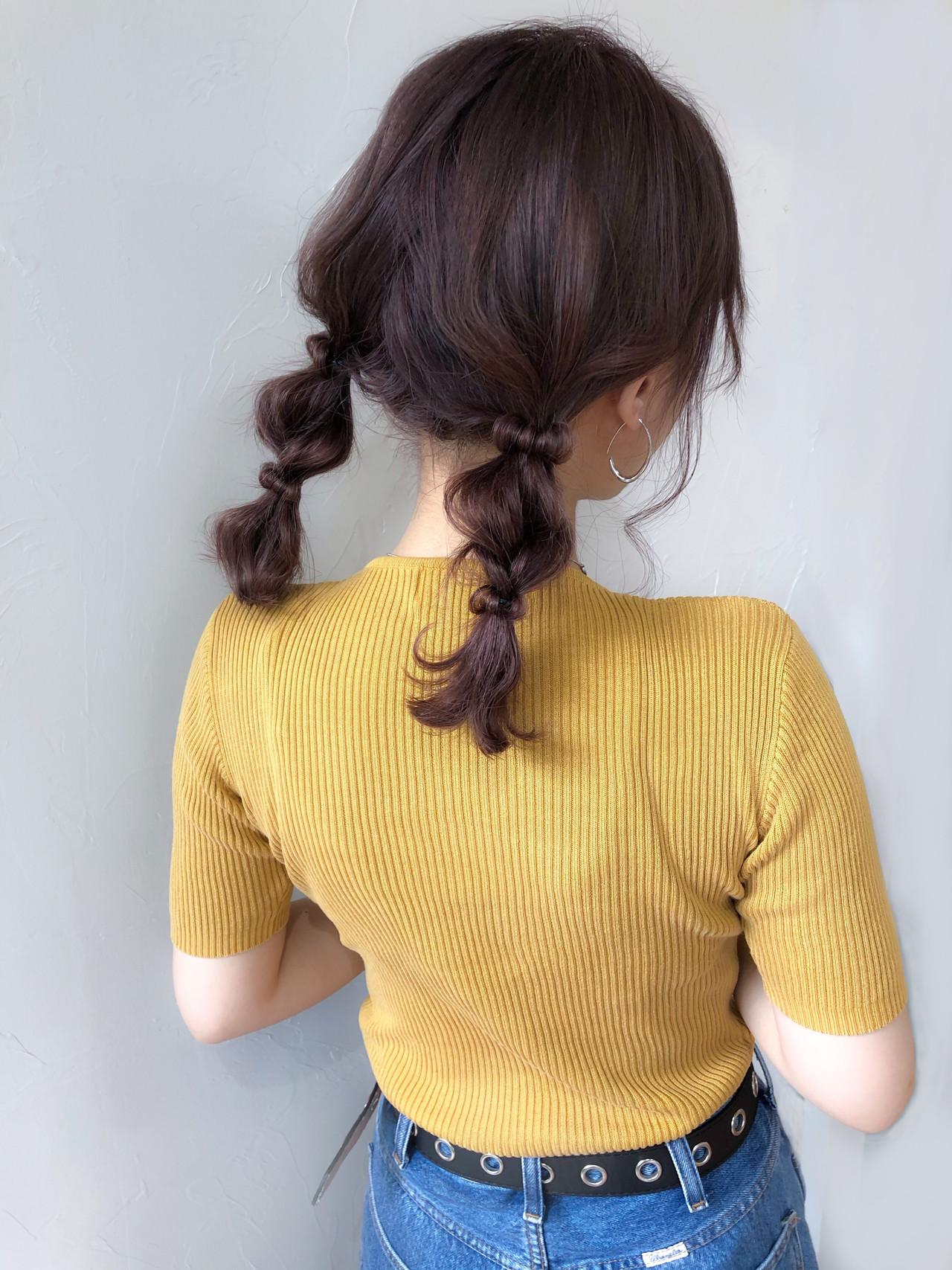 ピンクブラウン ツインテール 簡単ヘアアレンジ ヘアアレンジ ヘアスタイルや髪型の写真・画像