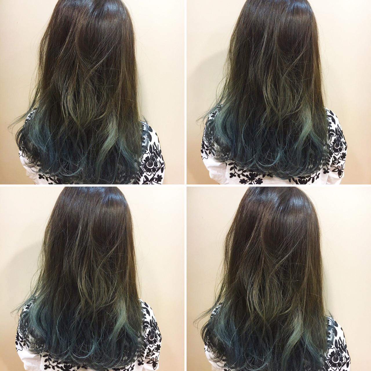 ブルーアッシュ ブルー ロング 外国人風ヘアスタイルや髪型の写真・画像