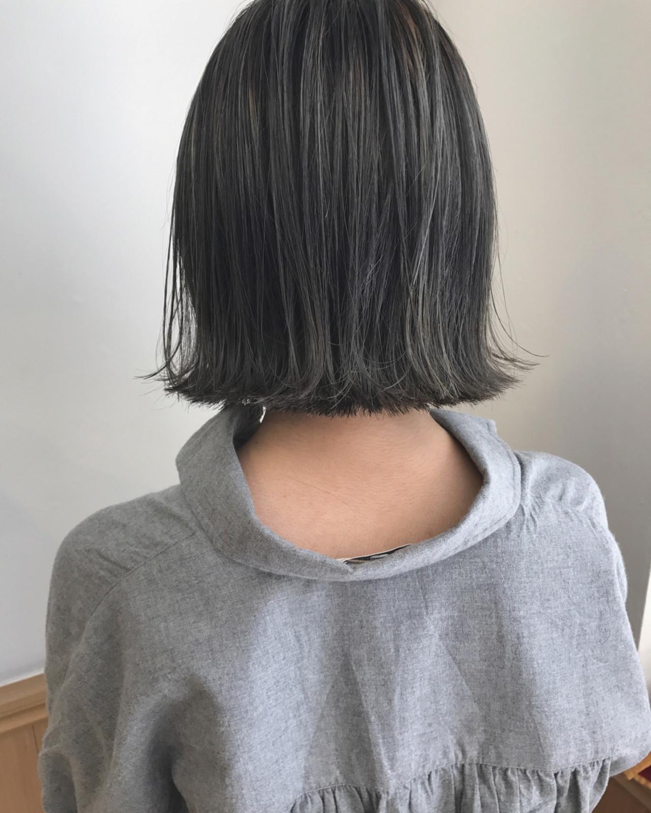 透明感 外ハネ 切りっぱなし 秋 ヘアスタイルや髪型の写真・画像 | KENTO.NOESALON / NOE SALON
