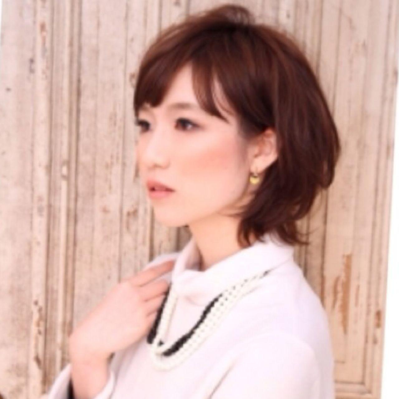 モテ髪 ミディアム 愛され フェミニン ヘアスタイルや髪型の写真・画像 | Ayumi Watanabe /