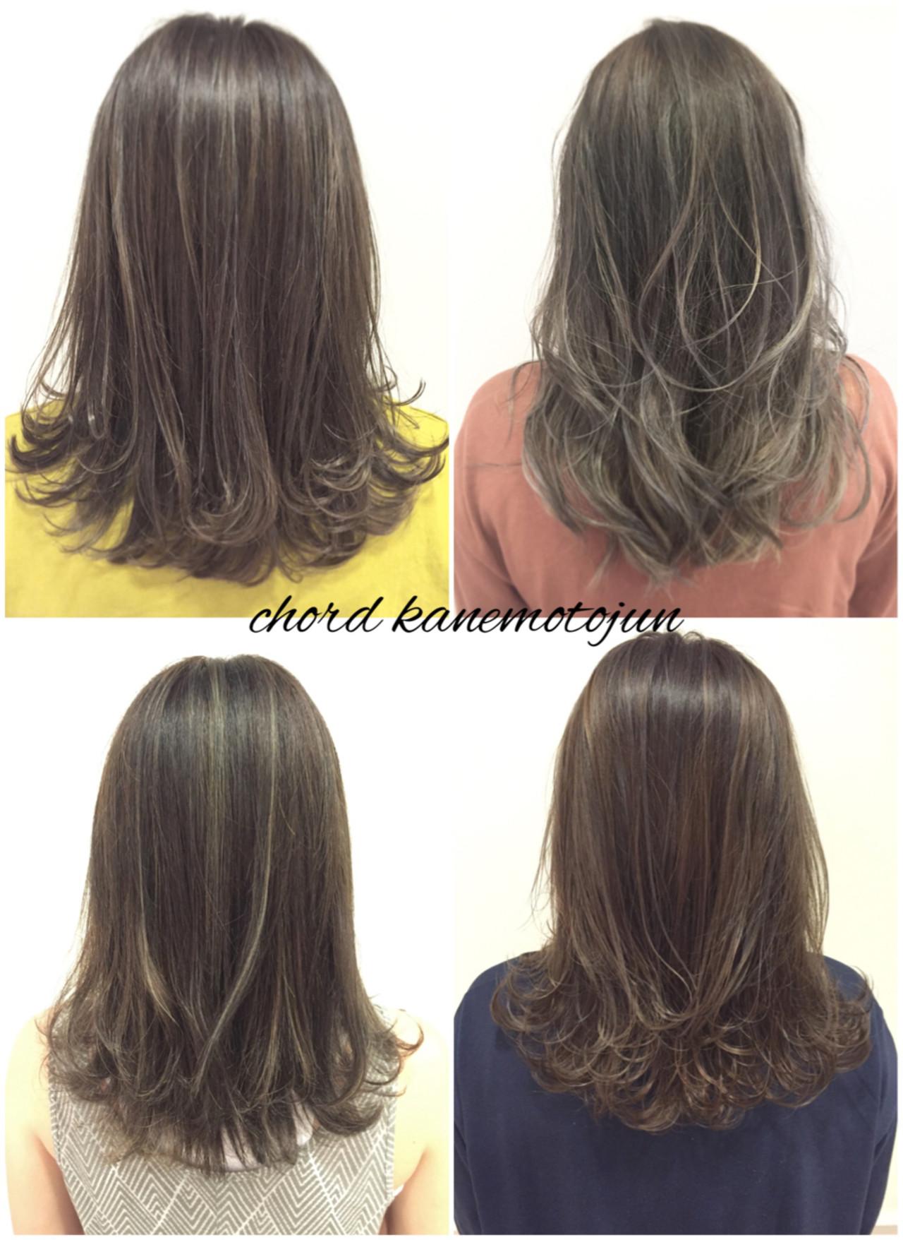 外国人風 グラデーションカラー セミロング アッシュヘアスタイルや髪型の写真・画像