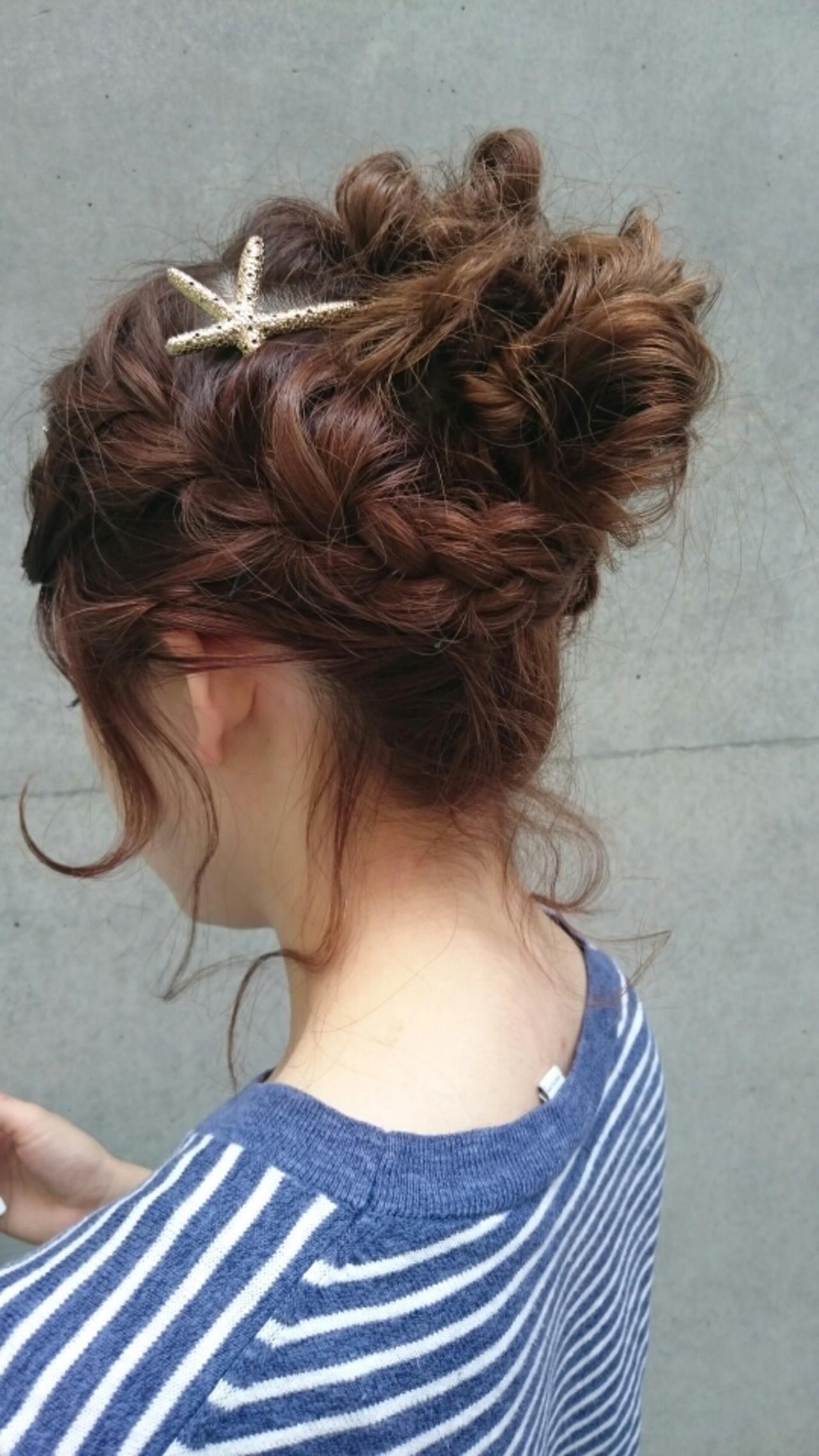 ヘアアレンジ ナチュラル かわいい ミディアム ヘアスタイルや髪型の写真・画像   まりえ / 花やの前の美容室
