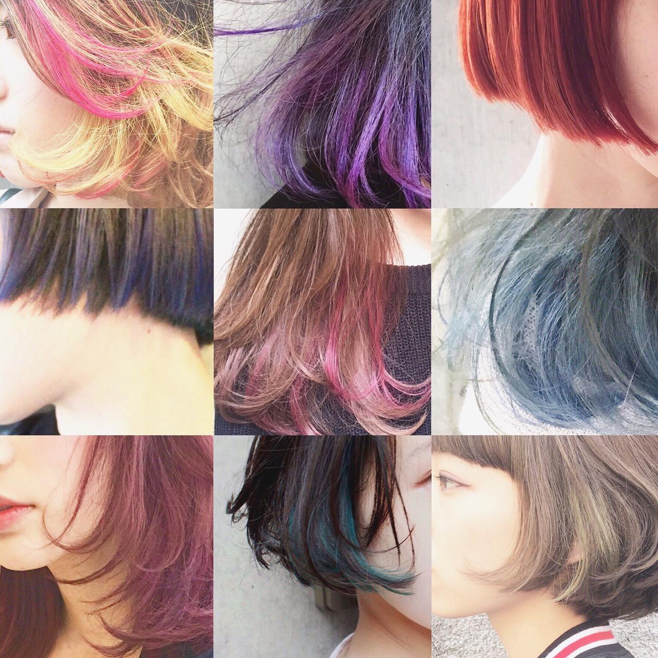 ハイライト グラデーションカラー 暗髪 アッシュヘアスタイルや髪型の写真・画像