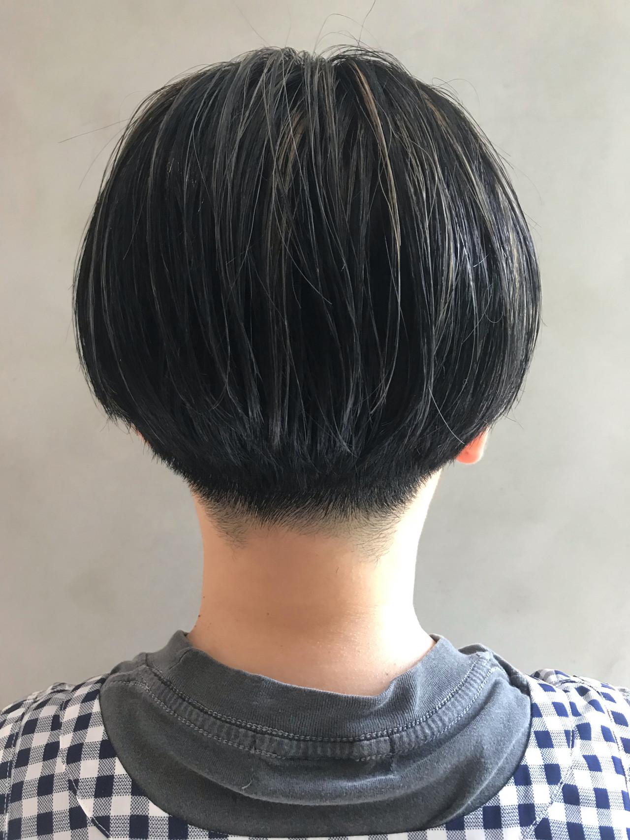 3Dハイライト 黒髪ショート 透け感ヘア ショートヘア ヘアスタイルや髪型の写真・画像   星野 将 / salon IVY
