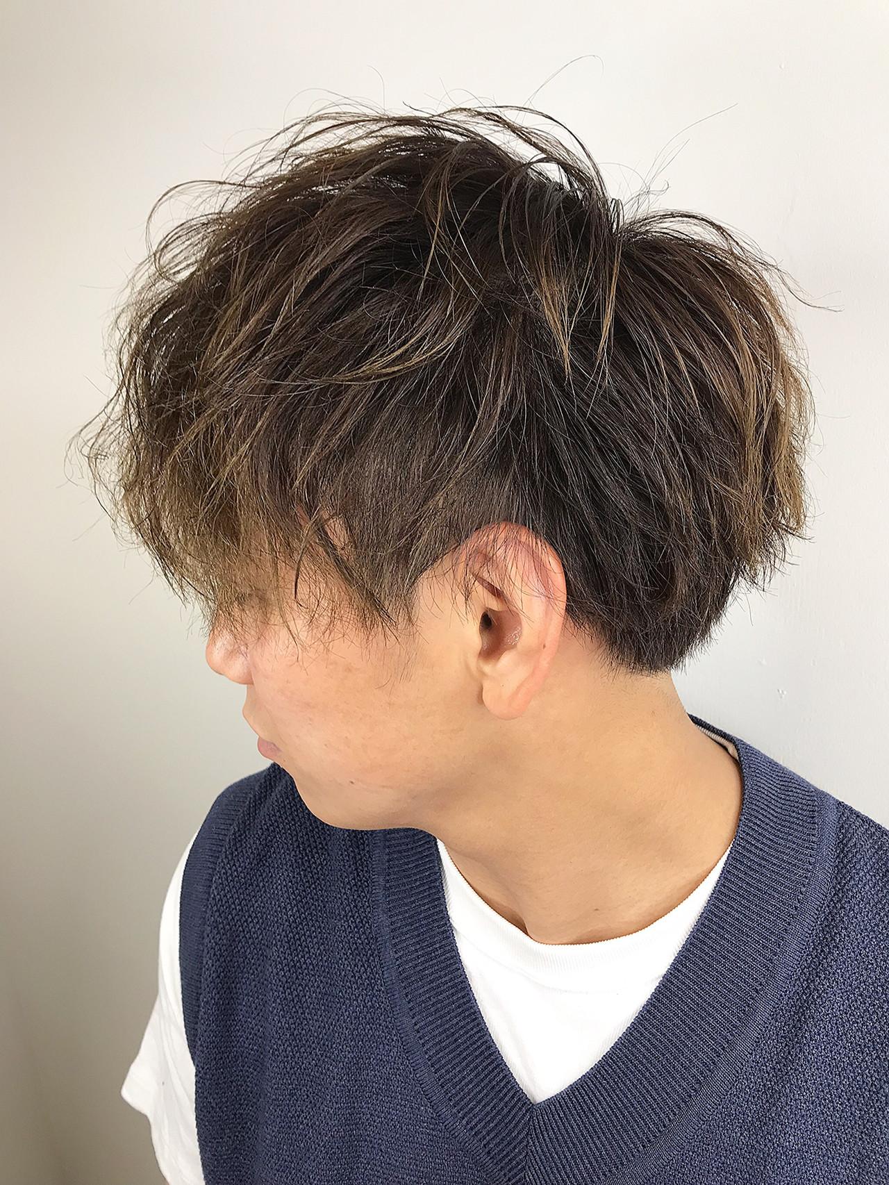 メンズパーマ ショート メンズマッシュ ストリート ヘアスタイルや髪型の写真・画像 | 坂本高秀 / CHIANTI梅田