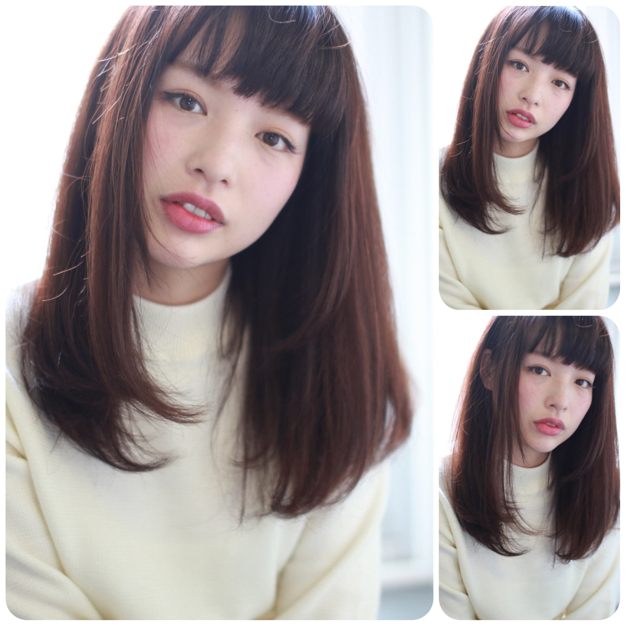 暗髪 イルミナカラー ナチュラル セミロングヘアスタイルや髪型の写真・画像