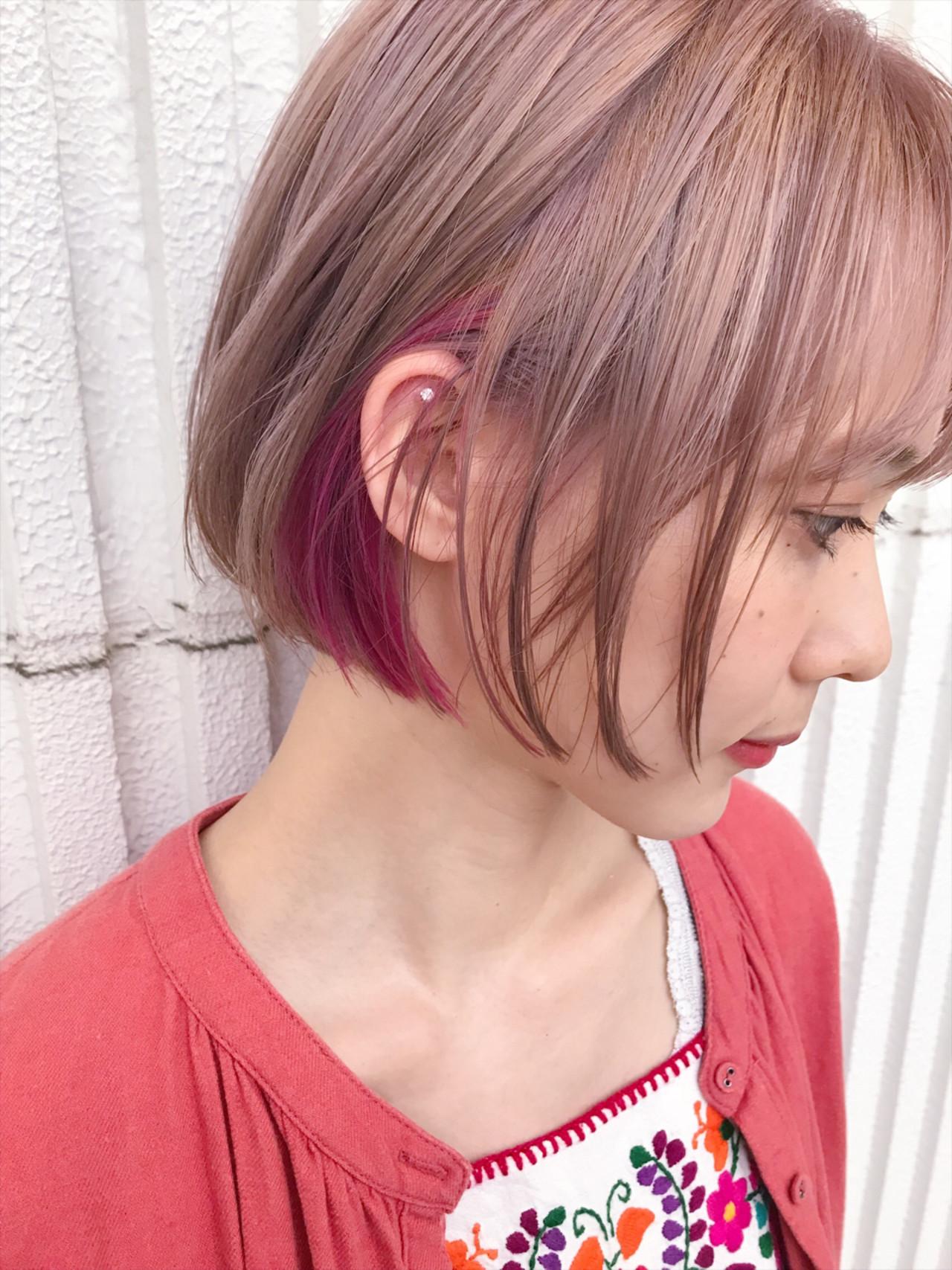 ダブルカラー カラーバター ショート ナチュラル ヘアスタイルや髪型の写真・画像 | kuranico / LORE hair salon