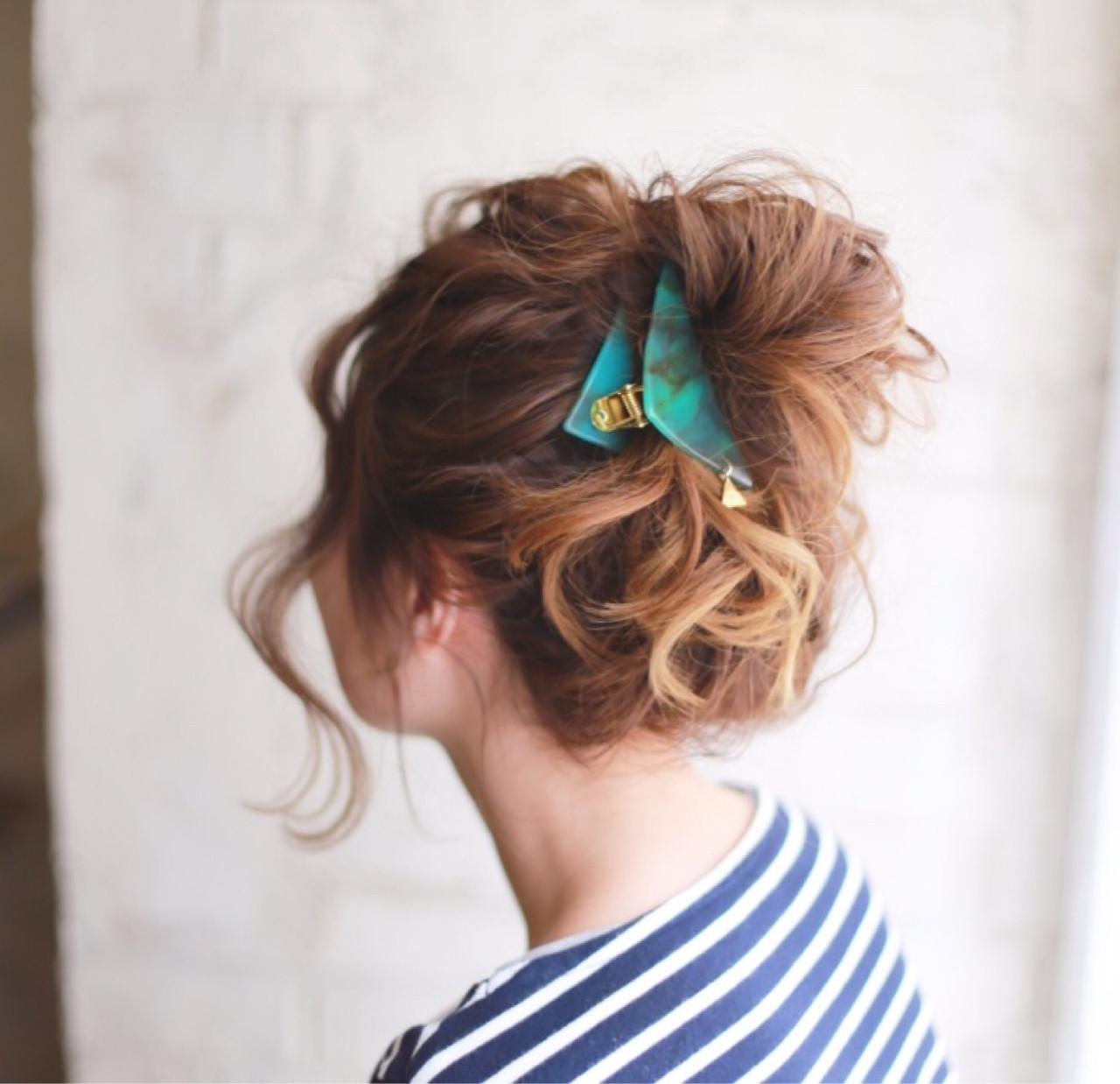 外国人風 ヘアアレンジ 簡単ヘアアレンジ ゆるふわヘアスタイルや髪型の写真・画像