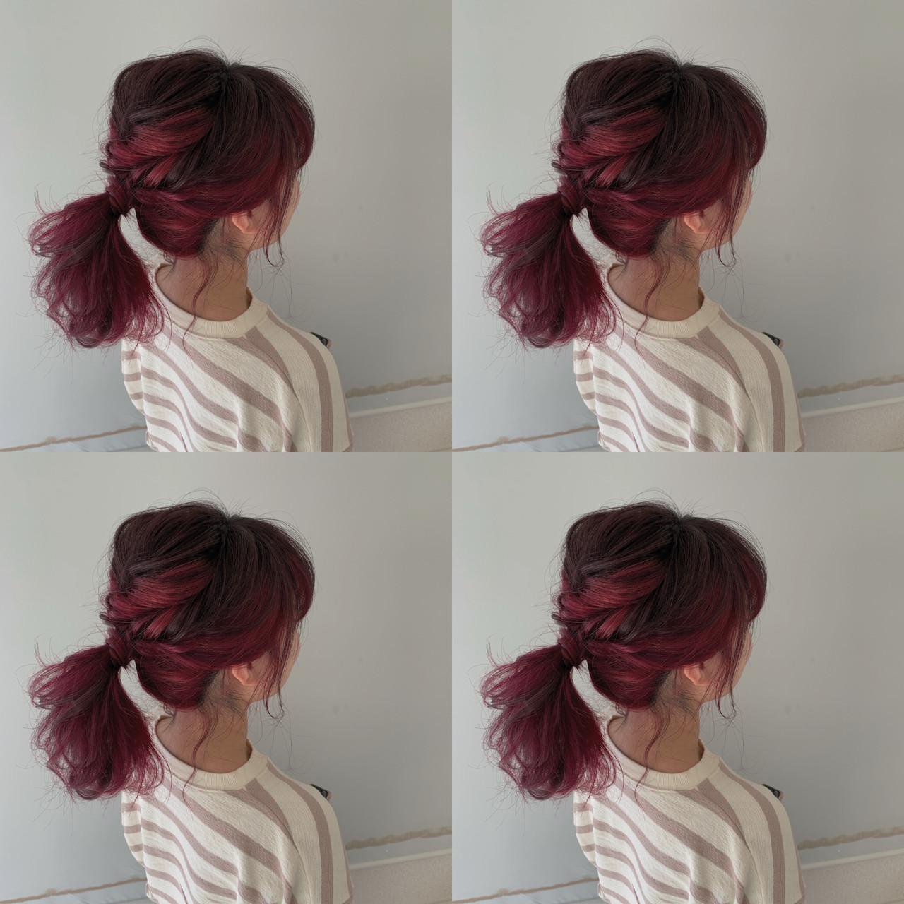 インナーカラー 簡単ヘアアレンジ ヘアアレンジ ミディアム ヘアスタイルや髪型の写真・画像 | 新谷 朋宏 / Free hairstylist shinya