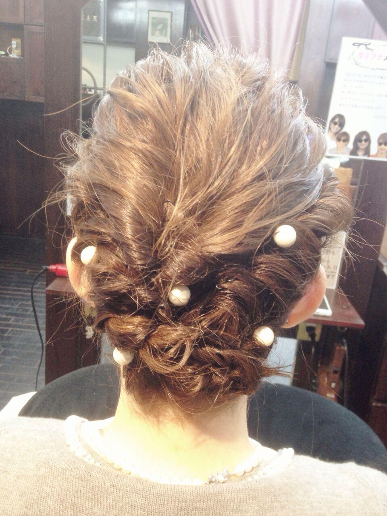 コンサバ 結婚式 ヘアアレンジ 三つ編み ヘアスタイルや髪型の写真・画像 | 吉田 美香 HAREKE loopidea / HAREKE Loopidea