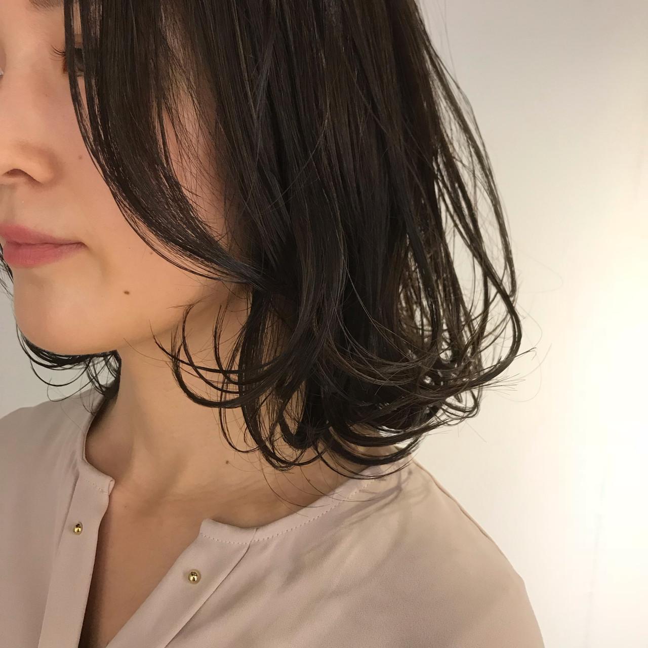 外ハネボブ 外ハネ ワンカールスタイリング ミディアム ヘアスタイルや髪型の写真・画像 | 金子ひろゆき / sola