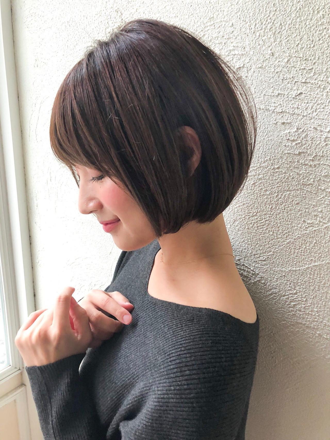 ナチュラル 透明感カラー デート ショートボブ ヘアスタイルや髪型の写真・画像 | 富永大樹【小顔ショート】【小顔ミディアム】 / Unami
