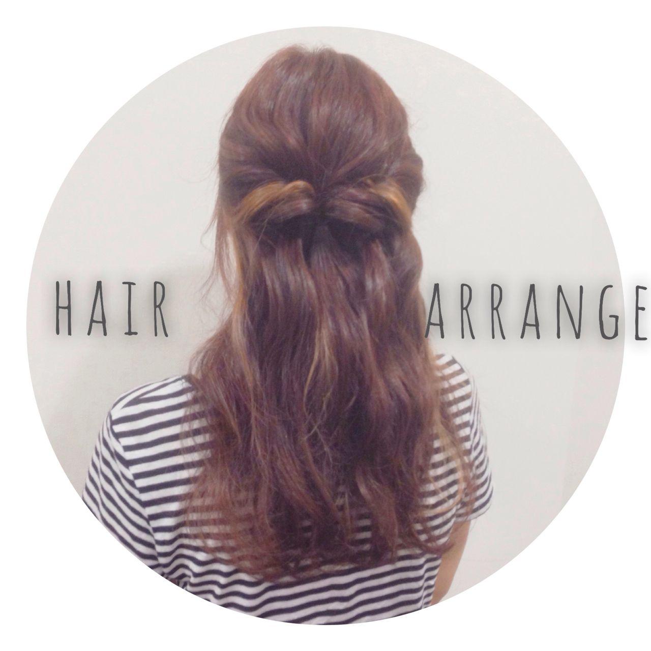 ハーフアップ 波ウェーブヘアスタイルや髪型の写真・画像