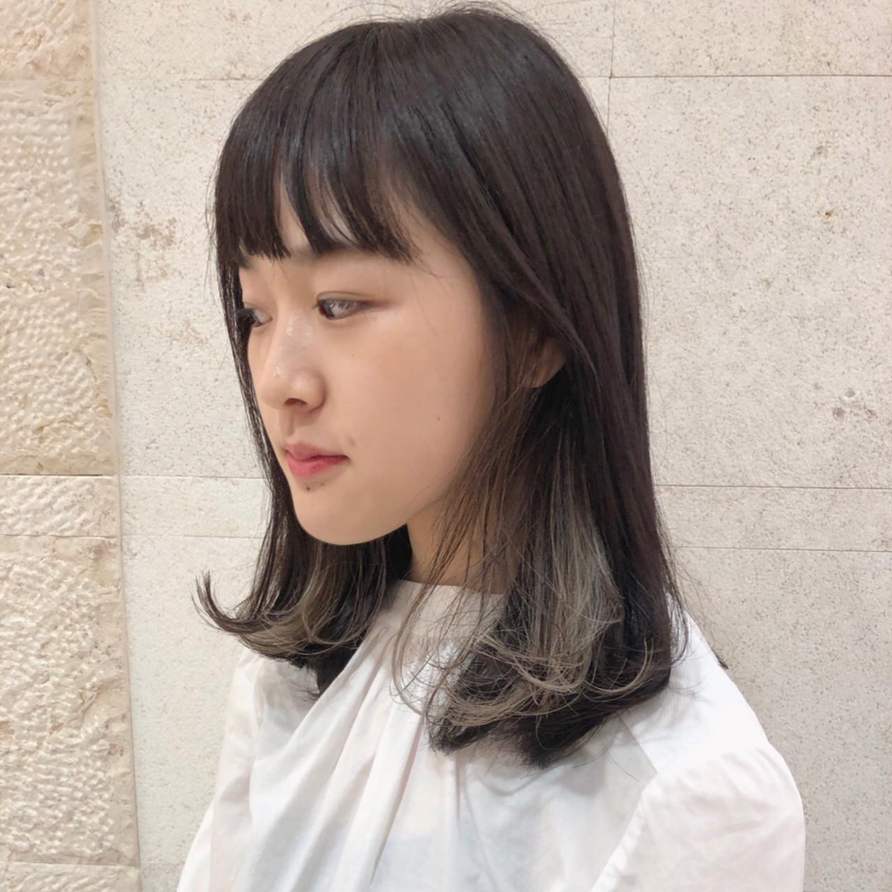 大人かわいい ハイライト 簡単スタイリング ミディアムヘアスタイルや髪型の写真・画像