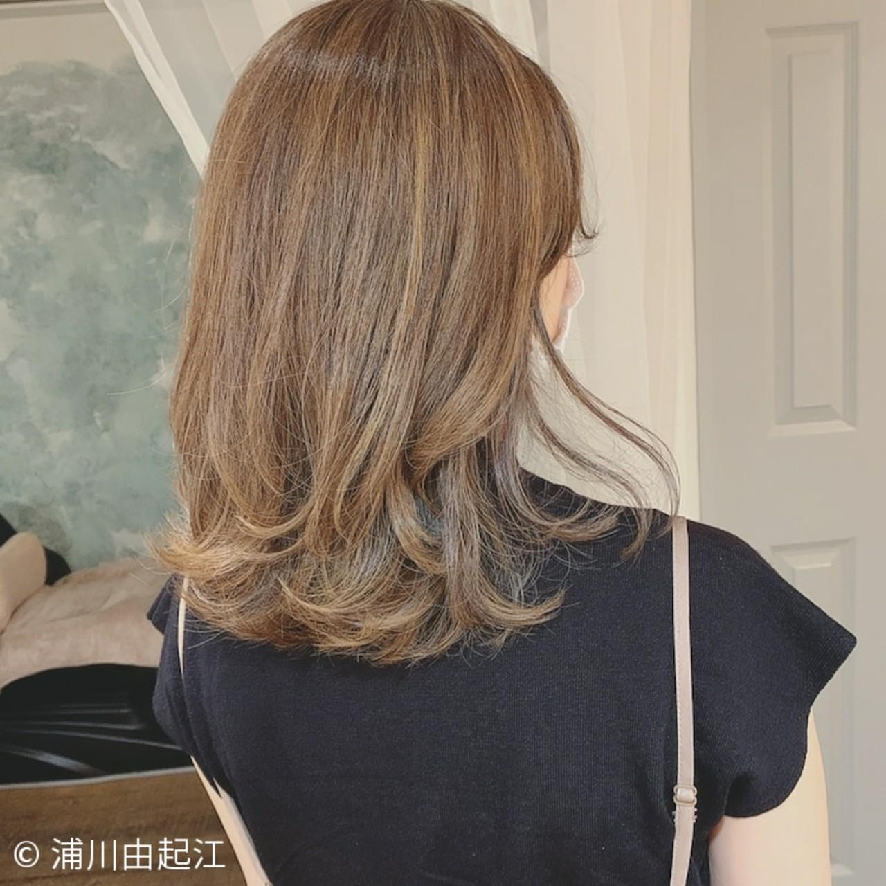 ハイライト エレガント ゆるふわ ミディアムヘアスタイルや髪型の写真・画像