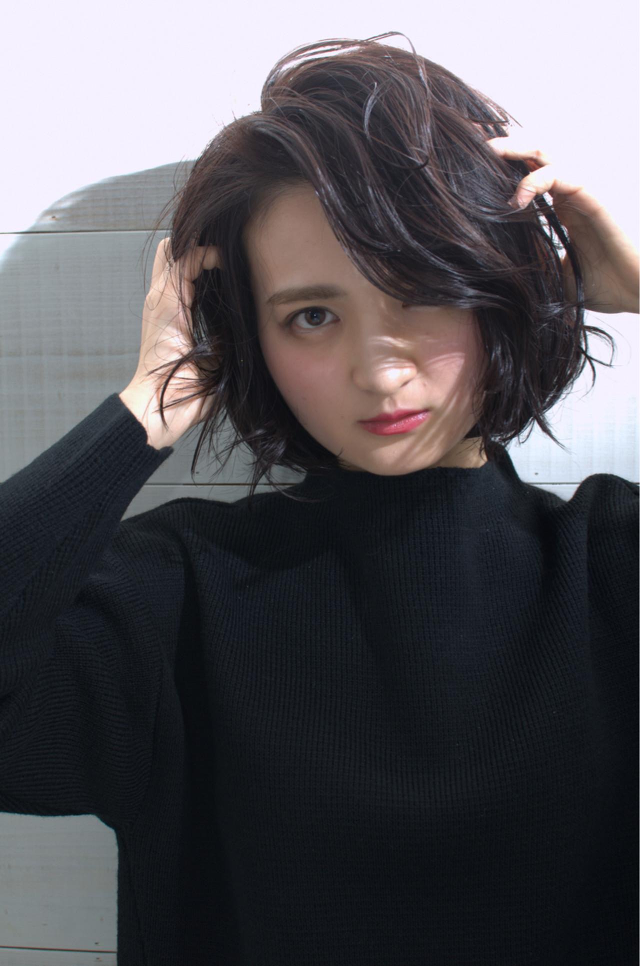 ショート 大人かわいい 暗髪 簡単ヘアアレンジ ヘアスタイルや髪型の写真・画像   三村 昇 / MUSEUM(ミュージアム)