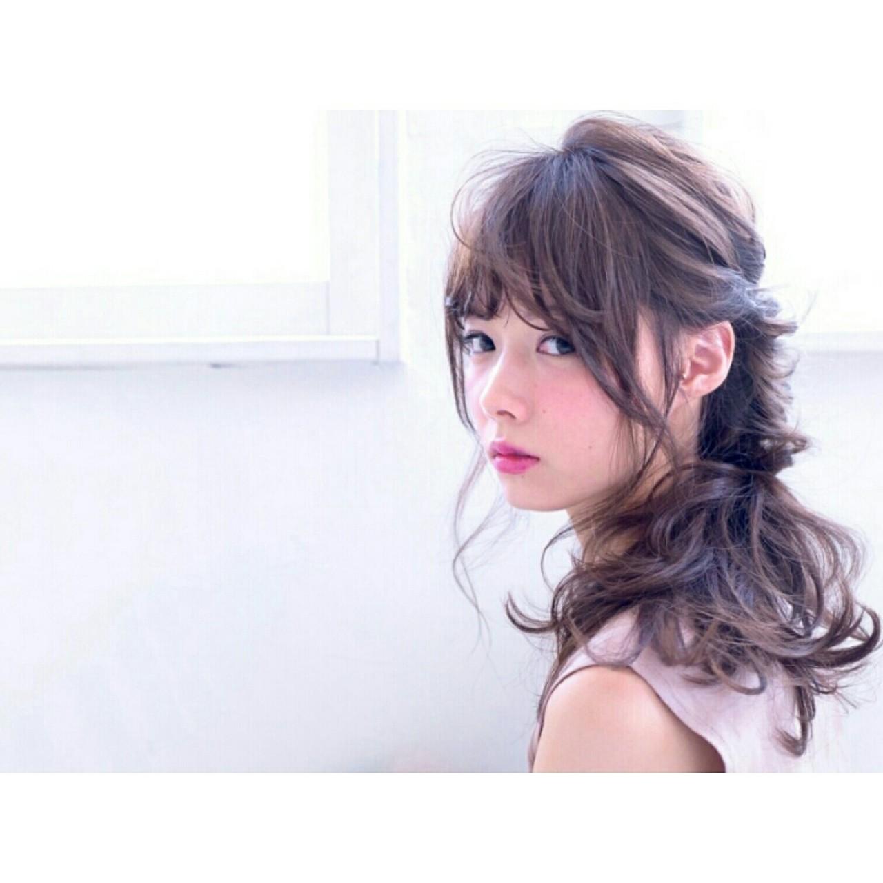 フェミニン ハーフアップ パーマ ショート ヘアスタイルや髪型の写真・画像   Yuki Ito / AVANCECROSStuin梅田茶屋町店