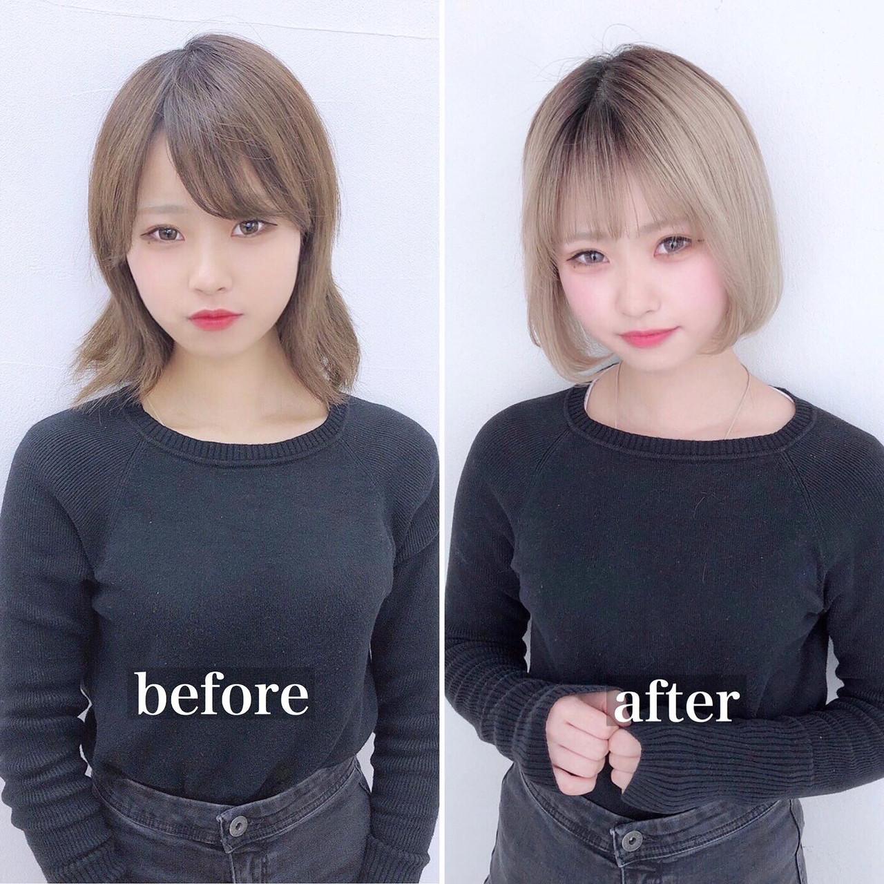 ナチュラル ミニボブ 小顔 韓国ヘアヘアスタイルや髪型の写真・画像