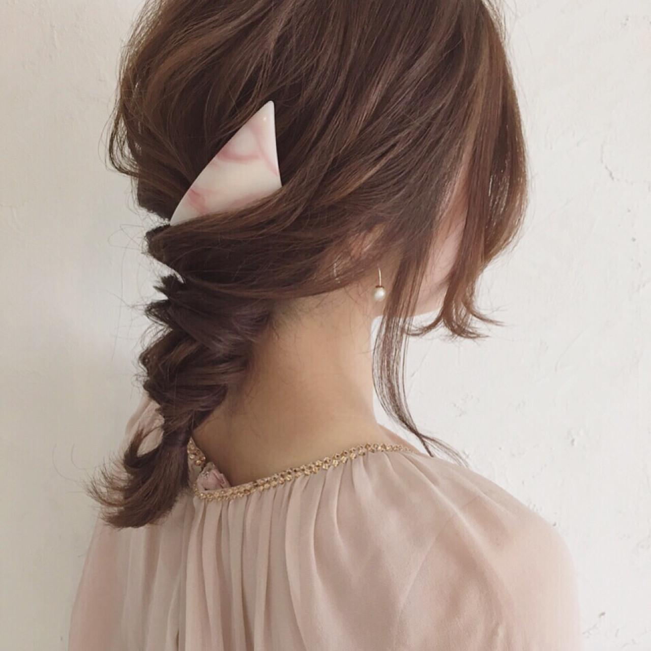 大人かわいい バレッタ 三つ編み ヘアアレンジ ヘアスタイルや髪型の写真・画像   ange maco / ange