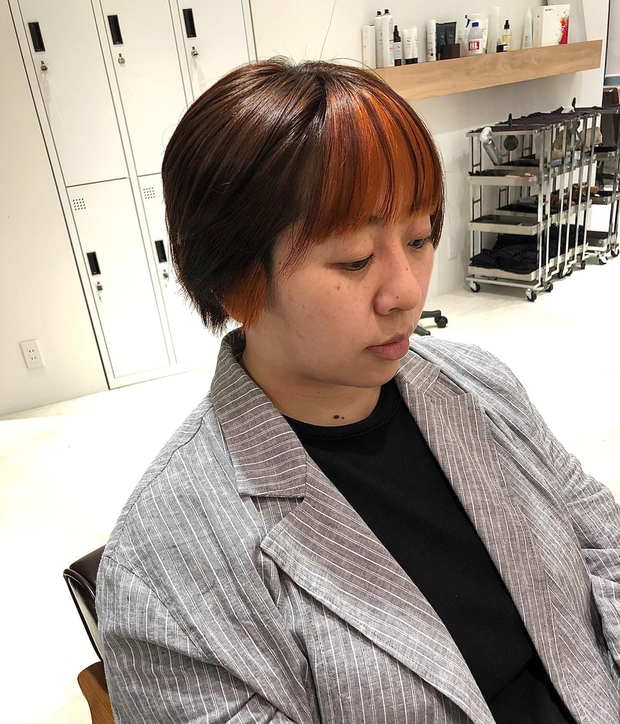 インナーカラー ショート #インナーカラー インナーカラーレッドヘアスタイルや髪型の写真・画像