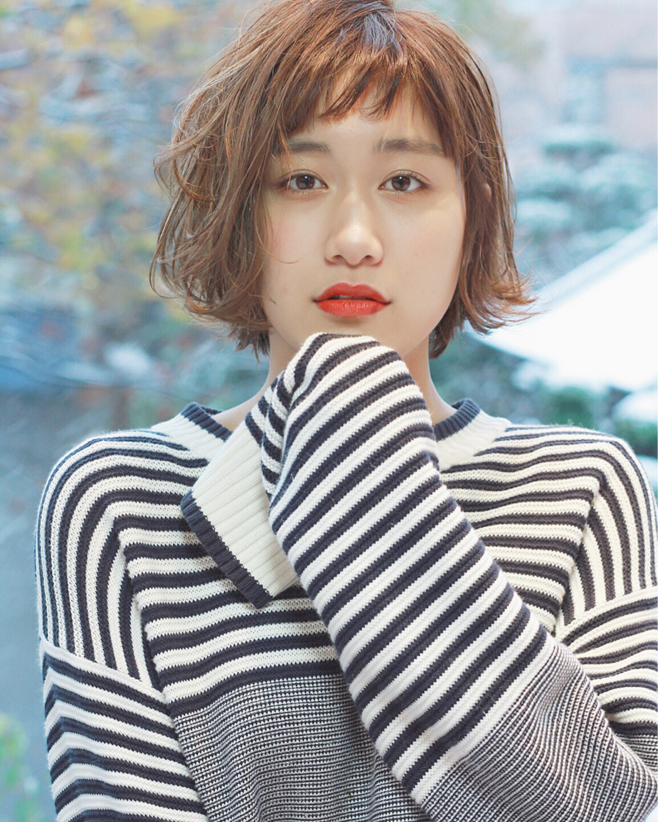 外ハネ 外国人風 ショート ボブ ヘアスタイルや髪型の写真・画像 | 須賀 ユウスケ / Rizm