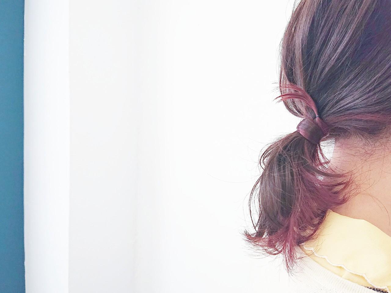 グラデーションカラー 簡単ヘアアレンジ フェミニン ポニーテール ヘアスタイルや髪型の写真・画像   KUMA / hair make PUR
