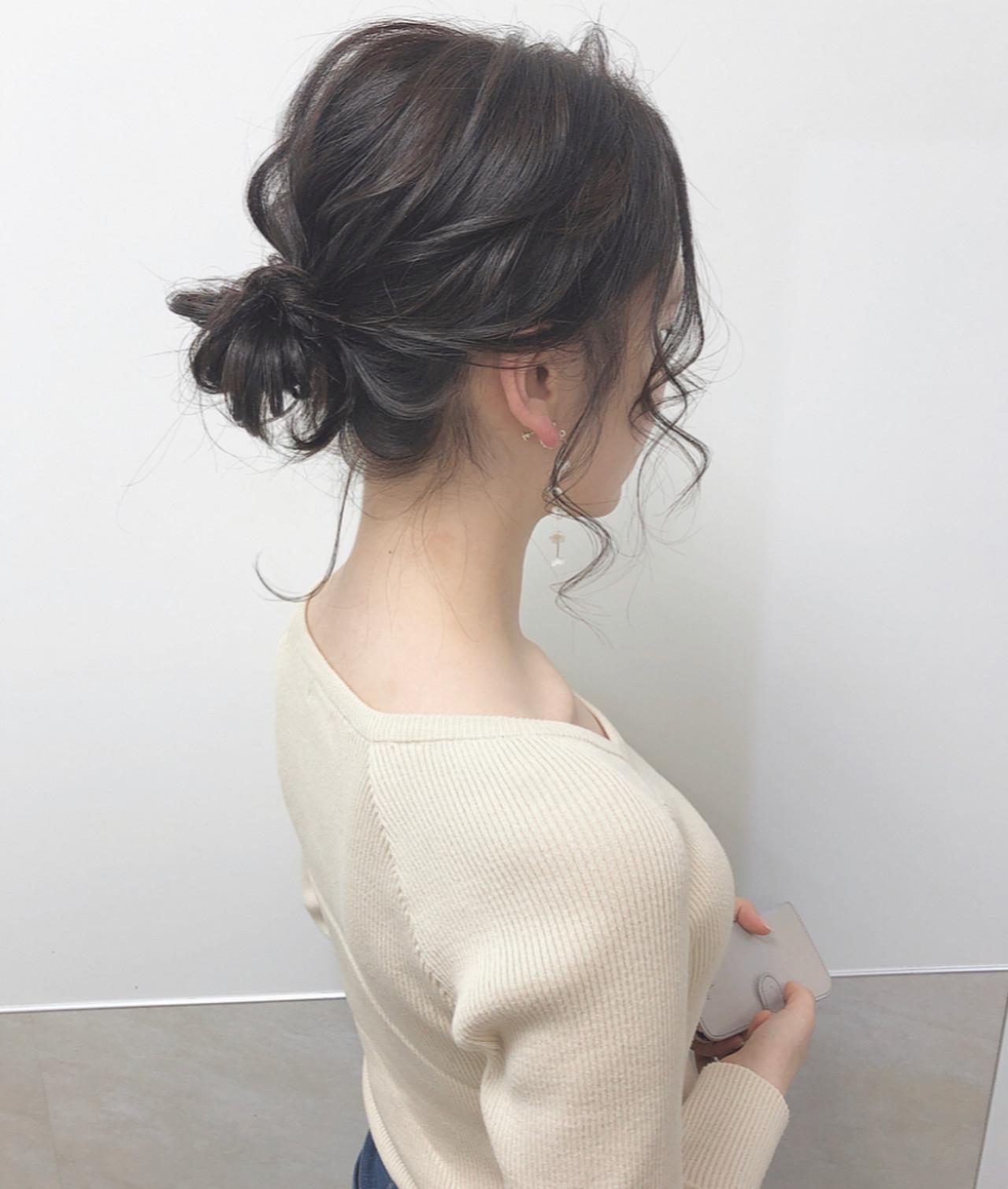シニヨン ヘアアレンジ フェミニン ミディアム ヘアスタイルや髪型の写真・画像