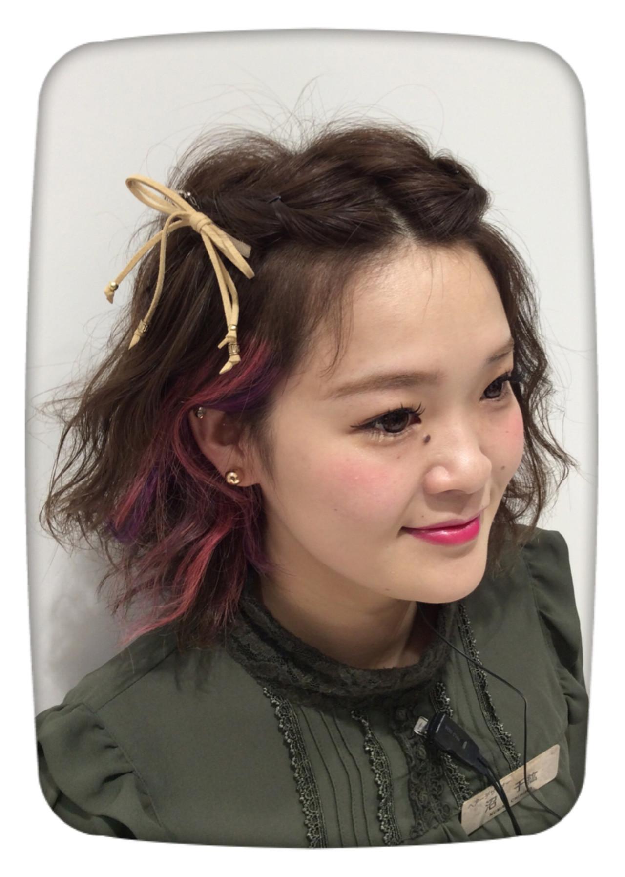 ヘアアレンジ アッシュバイオレット ガーリー パープルヘアスタイルや髪型の写真・画像