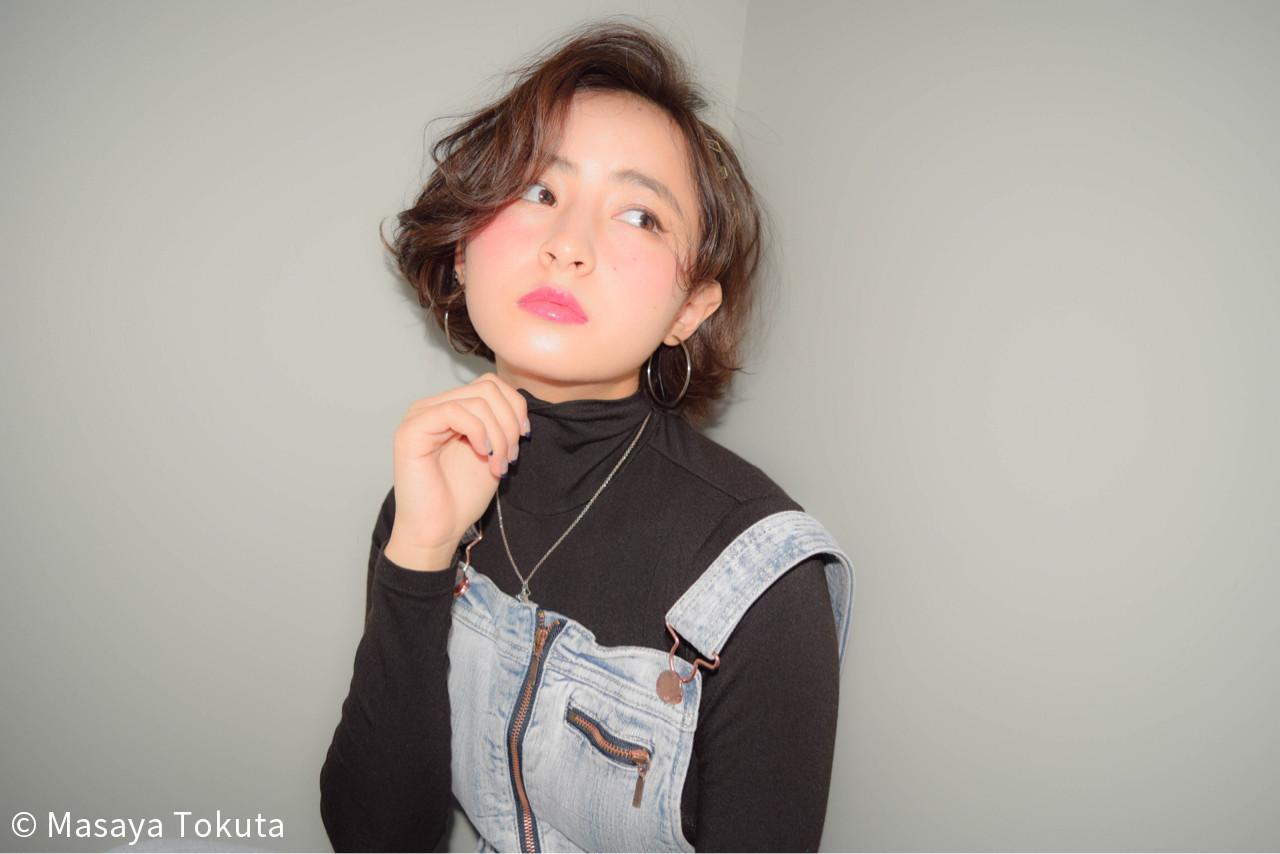 ゆるふわ ボブ 大人かわいい 簡単ヘアアレンジ ヘアスタイルや髪型の写真・画像 | 徳田 誠也 / HOEKHOEK