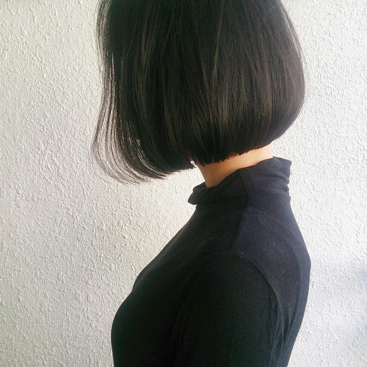 外国人風 大人かわいい ボブ 暗髪 ヘアスタイルや髪型の写真・画像 | 野崎 秀幸 / HEAVENS SHIBUYA