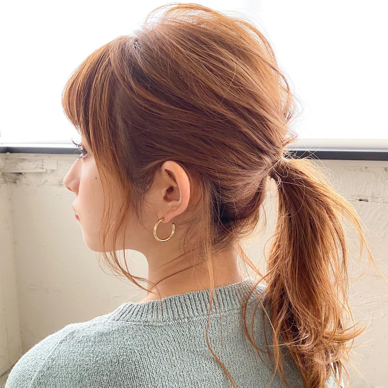 ミディアム 毛先パーマ 簡単ヘアアレンジ ポニーテール ヘアスタイルや髪型の写真・画像
