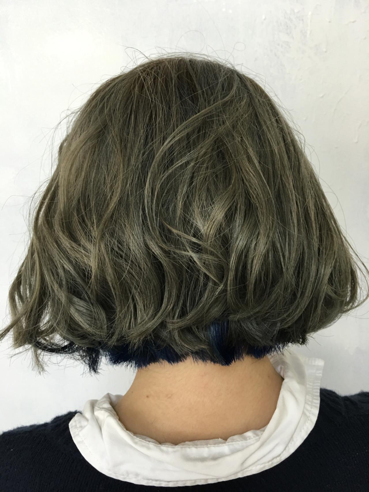 ストリート 外国人風 アッシュ ボブヘアスタイルや髪型の写真・画像