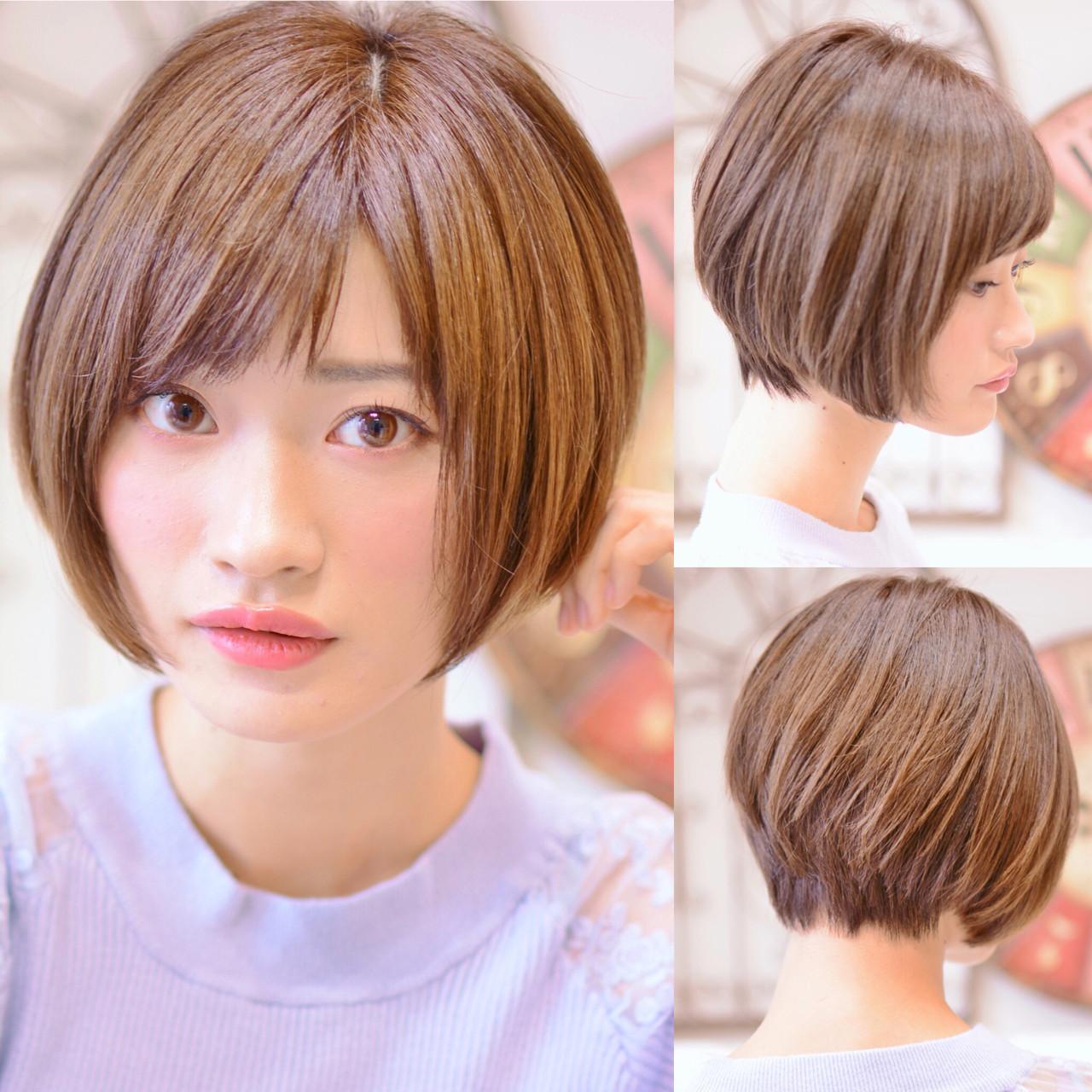 前下がり ショート ナチュラル ショートボブ ヘアスタイルや髪型の写真・画像 | Shiko Kajihara / メイズ