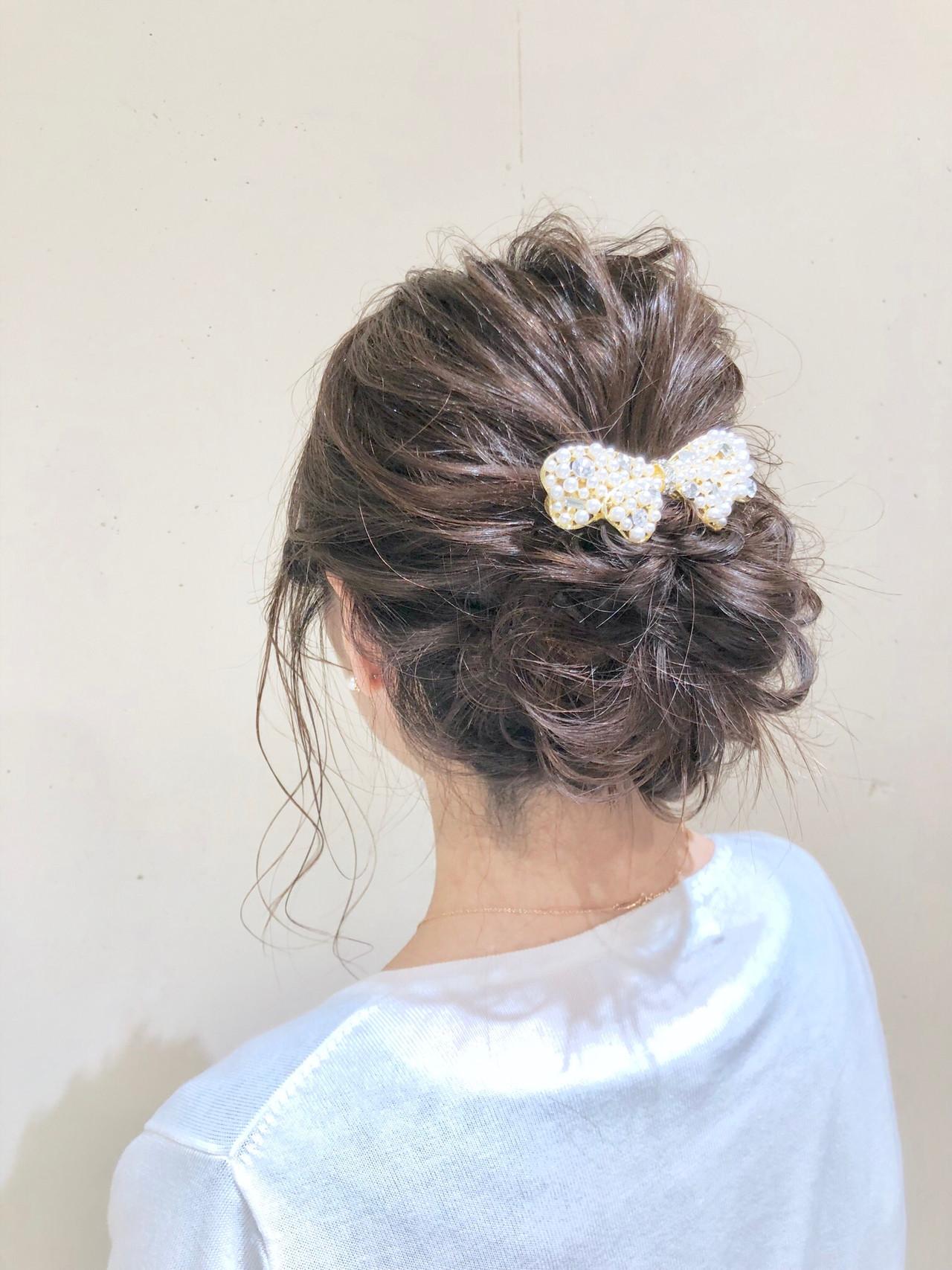 パーティ ヘアアレンジ ミディアム デート ヘアスタイルや髪型の写真・画像   KEISUKE / Runon 日吉