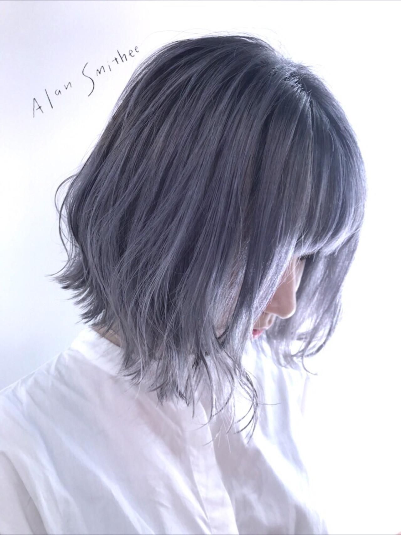 アッシュグレー グレー ボブ モード ヘアスタイルや髪型の写真・画像 | 津川比佳理 / AlanSmithee