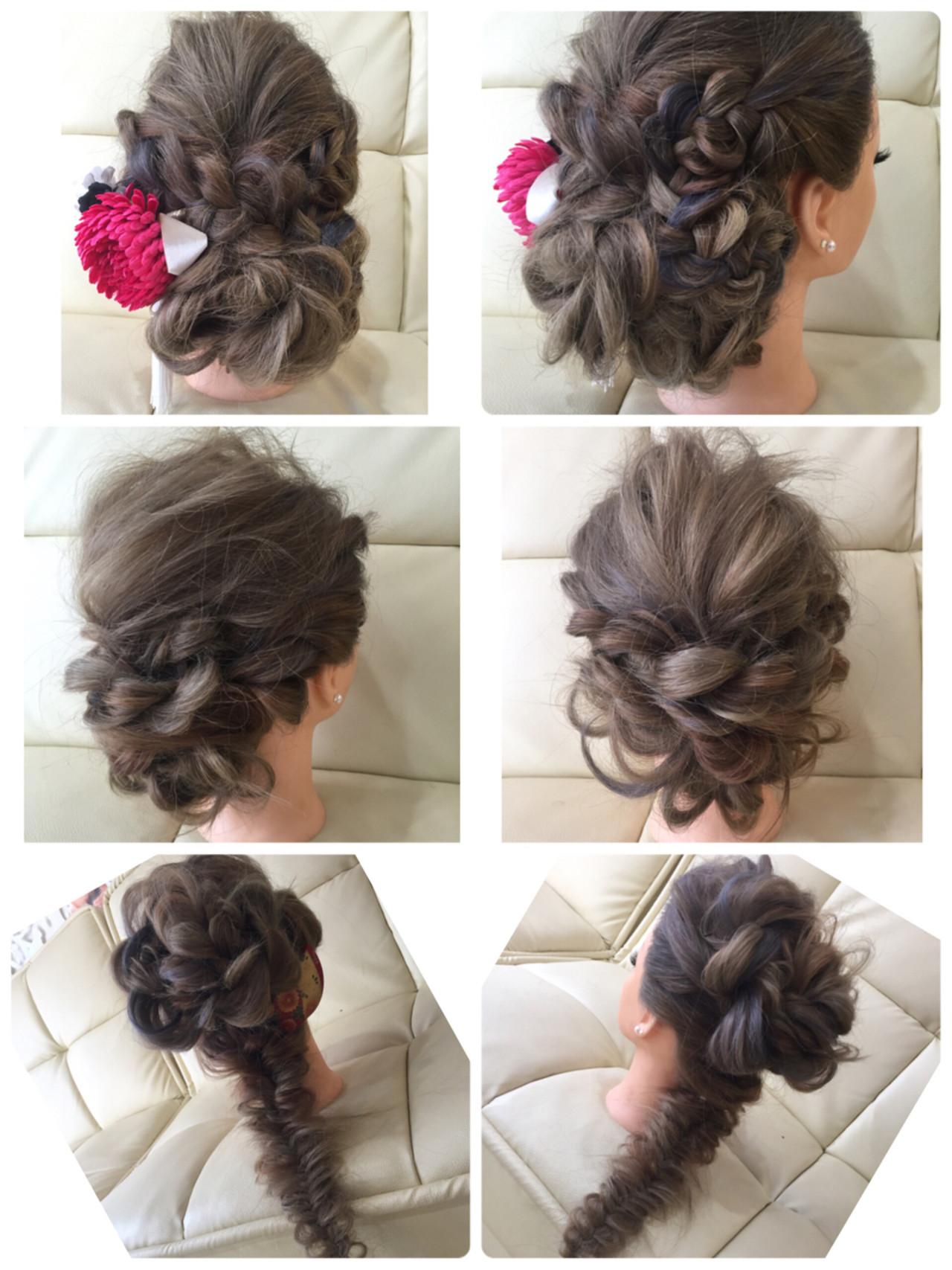 フィッシュボーン セミロング 編み込み ポニーテール ヘアスタイルや髪型の写真・画像 | Mai @hairset&MAKE-UP / M : Zau