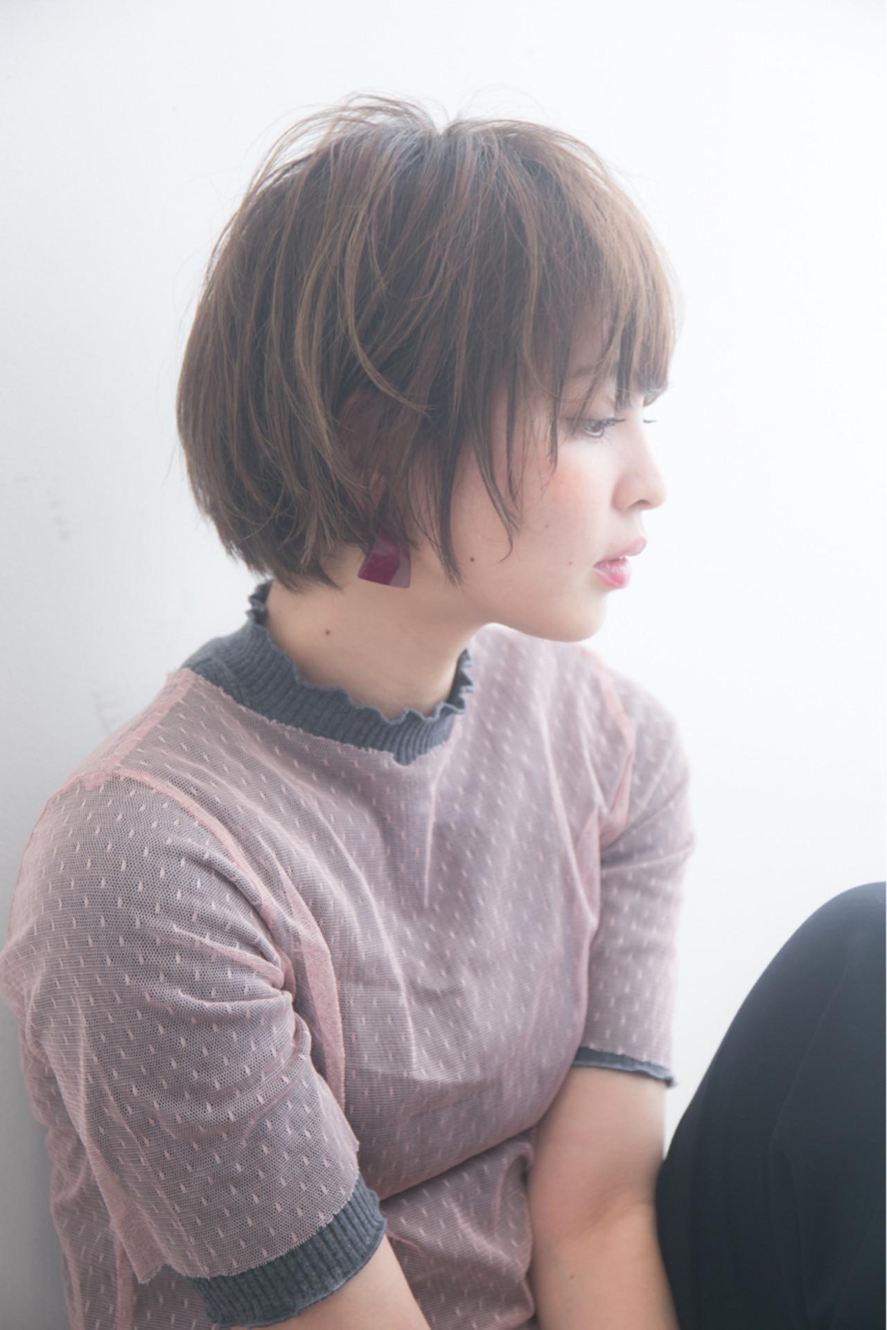 フリンジバング ショート ナチュラル ショートボブヘアスタイルや髪型の写真・画像