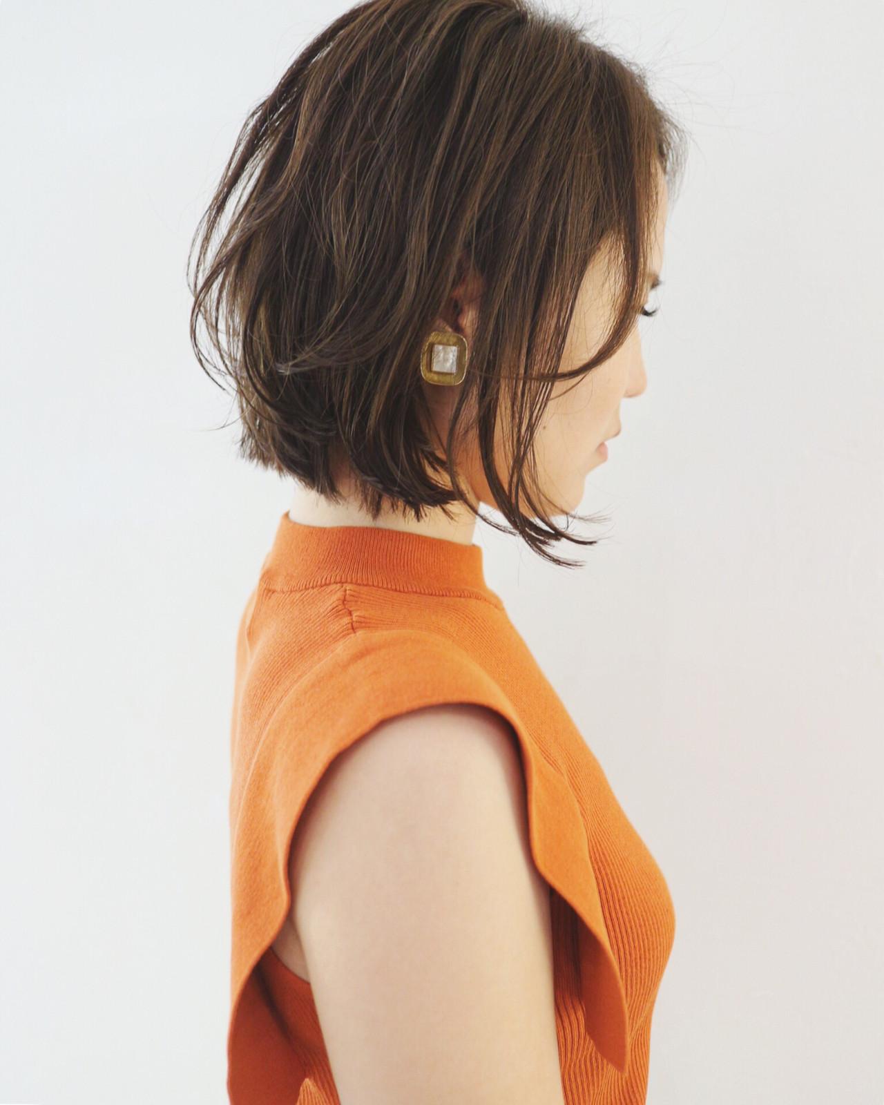 ボブ 外ハネボブ パーマ ミニボブ ヘアスタイルや髪型の写真・画像 | 三好 佳奈美 / Baco.(バコ)
