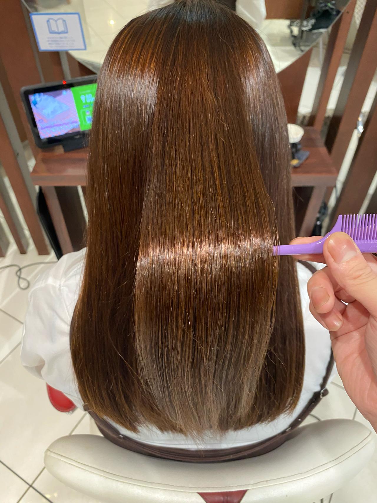 縮毛矯正 セミロング 髪質改善 髪質改善トリートメント ヘアスタイルや髪型の写真・画像
