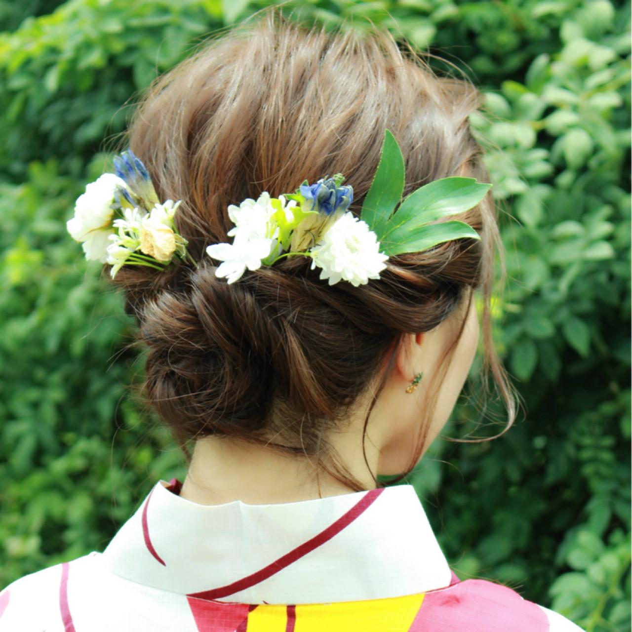 ヘアアレンジ フェミニン ナチュラル お祭りヘアスタイルや髪型の写真・画像
