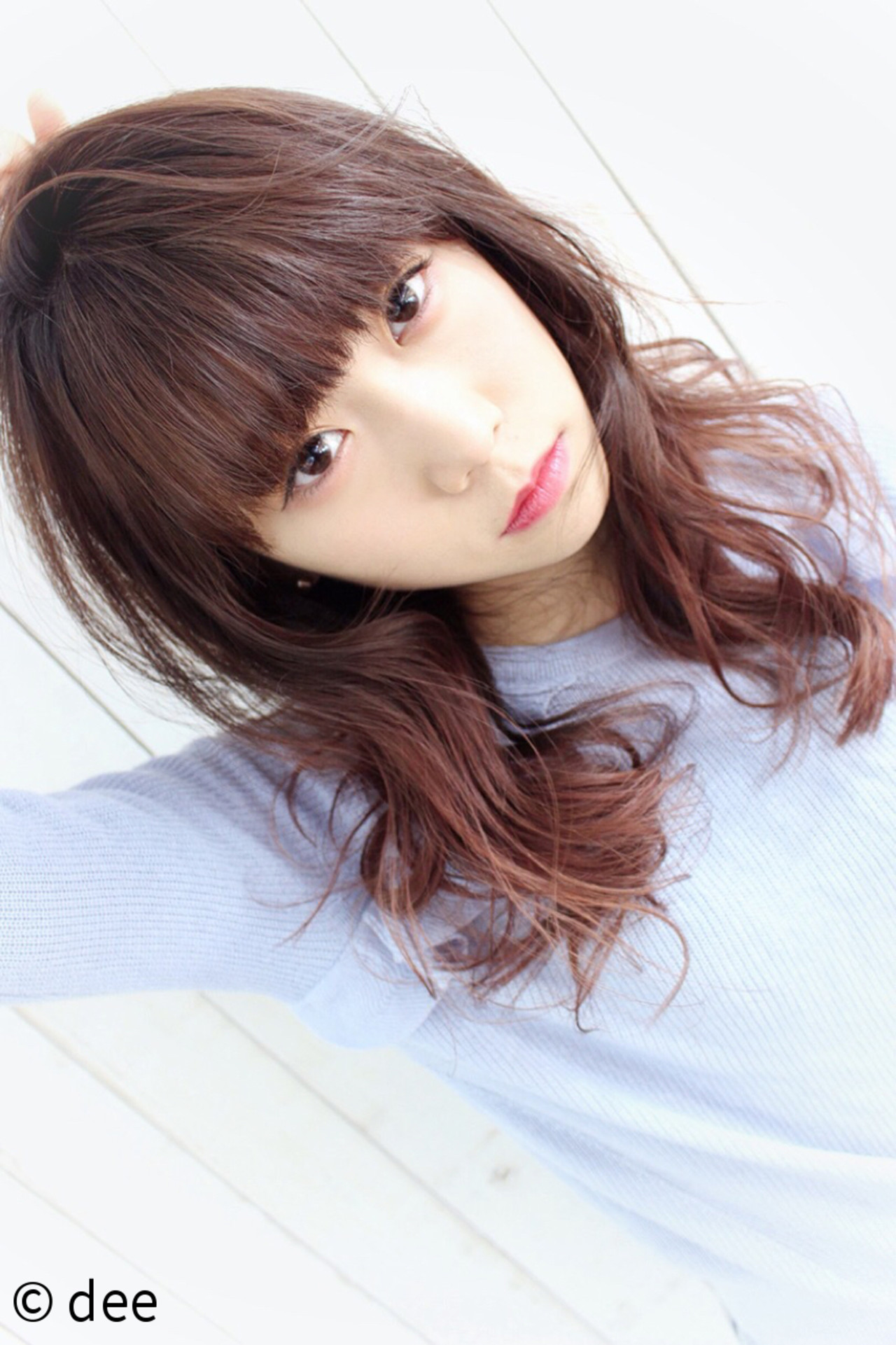 前髪パッツン ピンク ピンクブラウン グラデーションカラー ヘアスタイルや髪型の写真・画像 | dee / dee