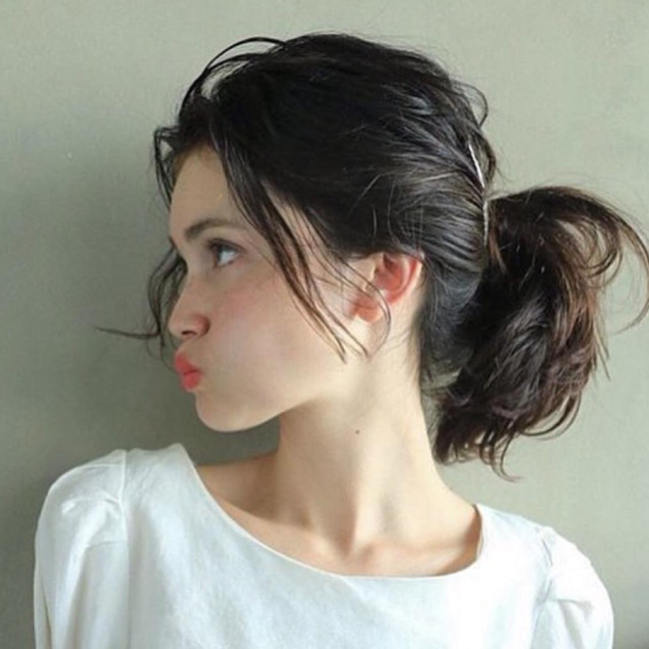 ショート ポニーテール 簡単ヘアアレンジ ミディアム ヘアスタイルや髪型の写真・画像 | 高橋 忍 / nanuk渋谷店(ナヌーク)