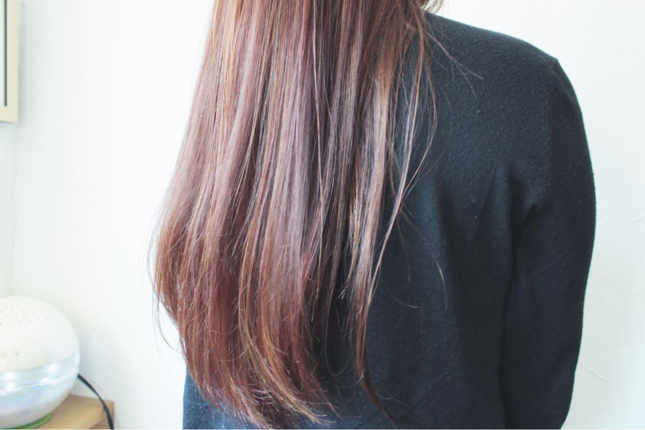 大人女子 ピンク ロング フェミニン ヘアスタイルや髪型の写真・画像 | creap / creap