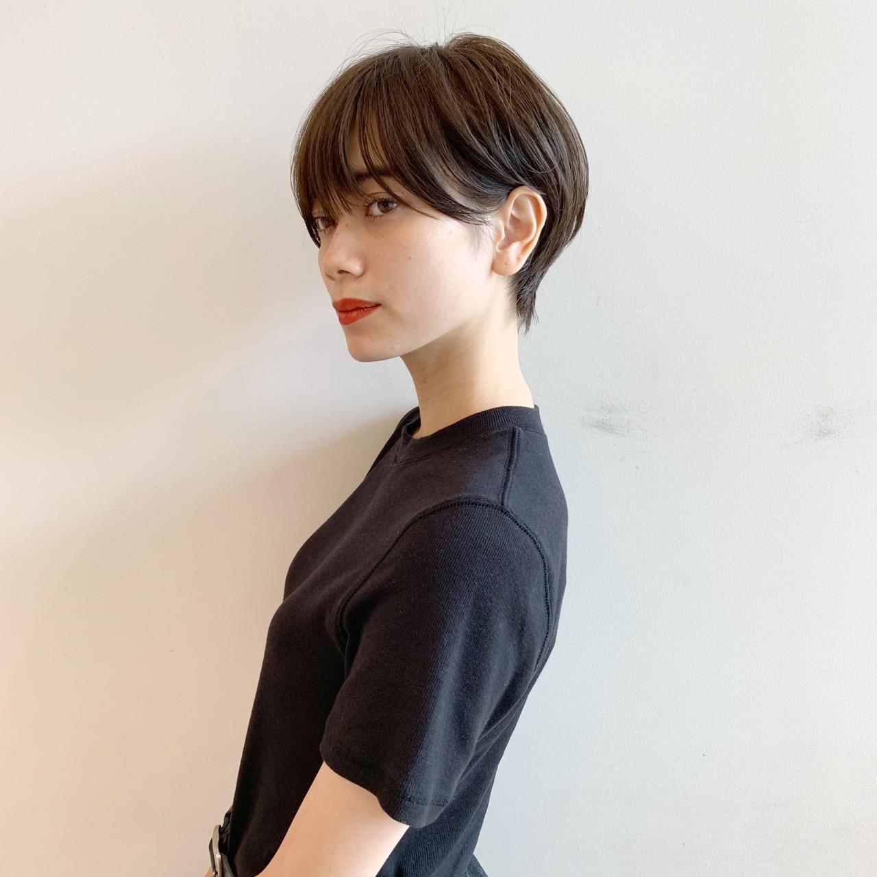 デート モード ショート 黒髪 ヘアスタイルや髪型の写真・画像 | ショートヘア美容師 #ナカイヒロキ / 『send by HAIR』