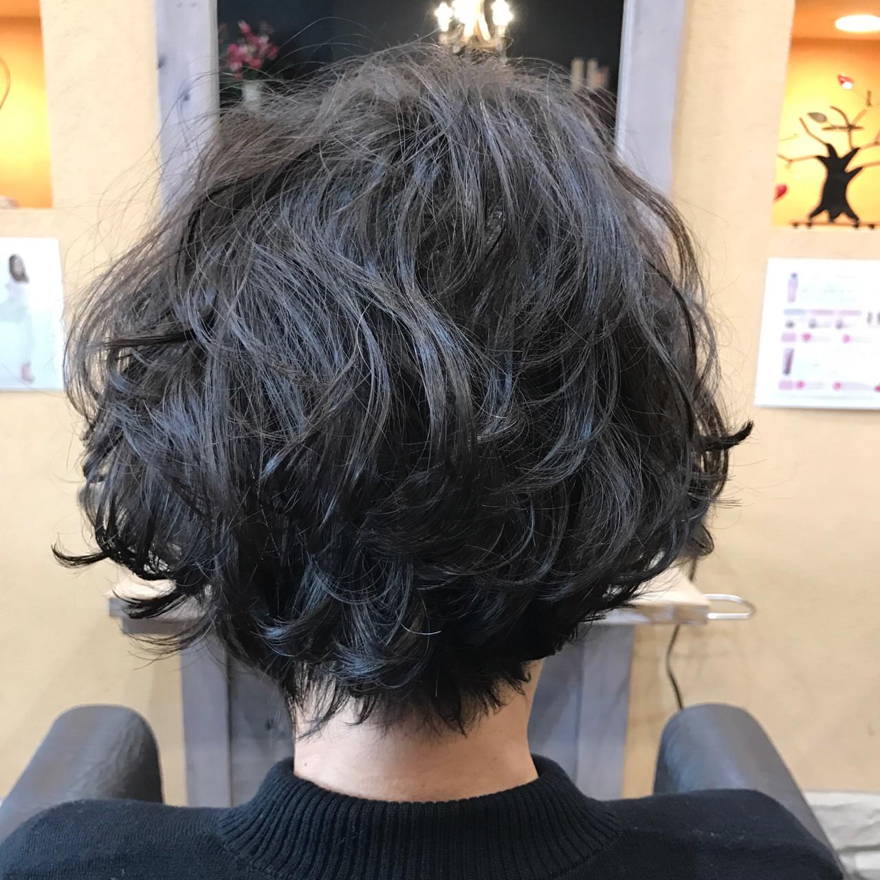 エレガント パーマ かっこいい 黒髪ヘアスタイルや髪型の写真・画像